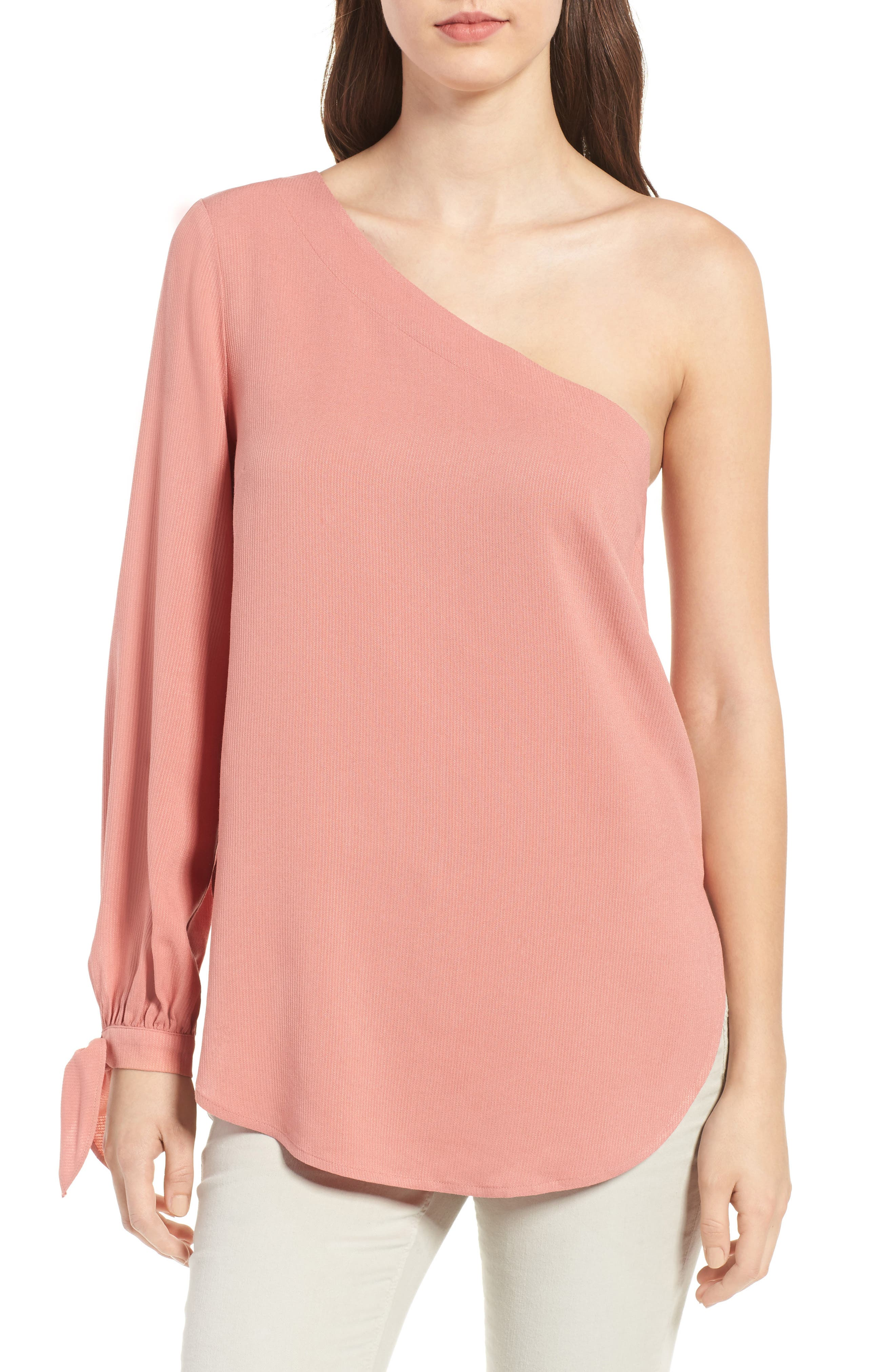 Main Image - Trouvé Tie Sleeve One-Shoulder Top