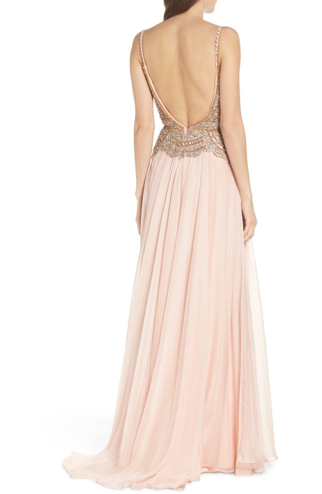 Alternate Image 2  - Mac Duggal Rhinstone Bodice A-Line Chiffon Gown