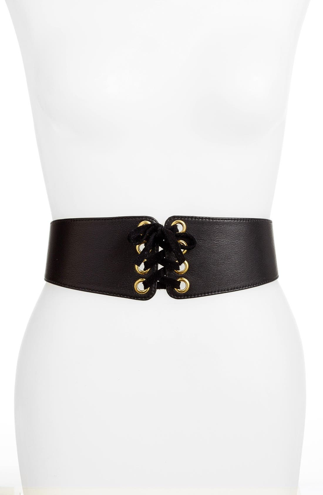 Leather Corset Belt,                         Main,                         color, Black