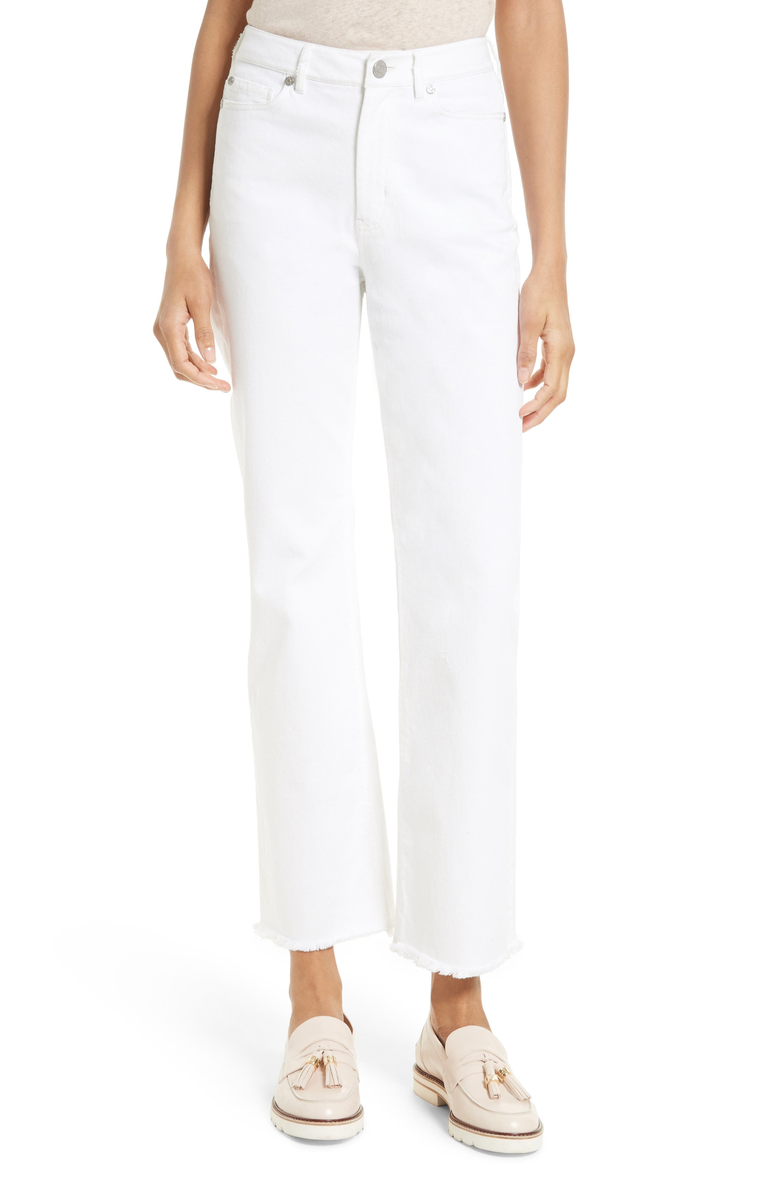 Anais Frayed Hem Wide Leg Crop Jeans,                             Main thumbnail 1, color,                             Sea Salt