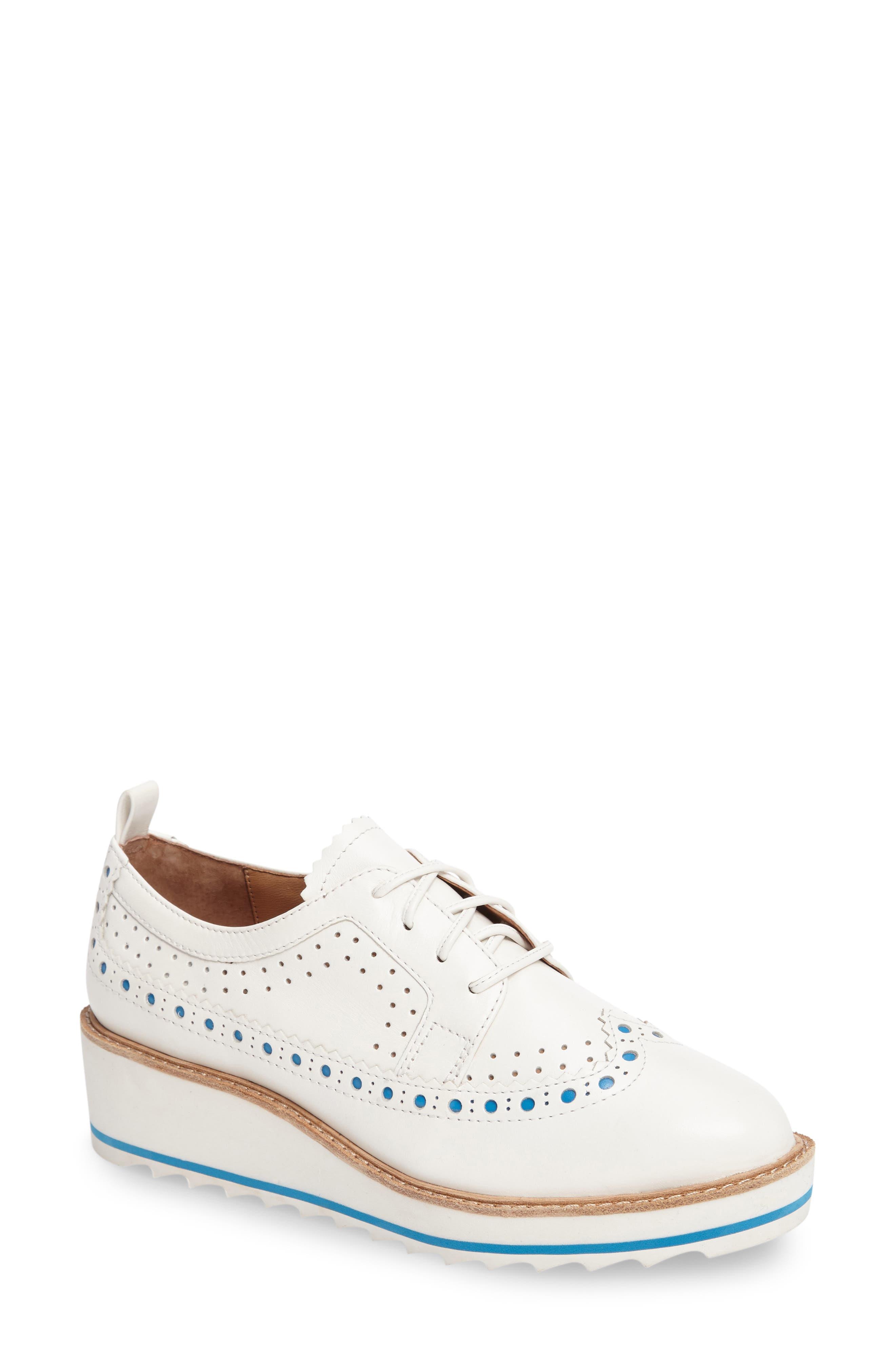 Malti Platform Wedge Oxford,                         Main,                         color, White Leather