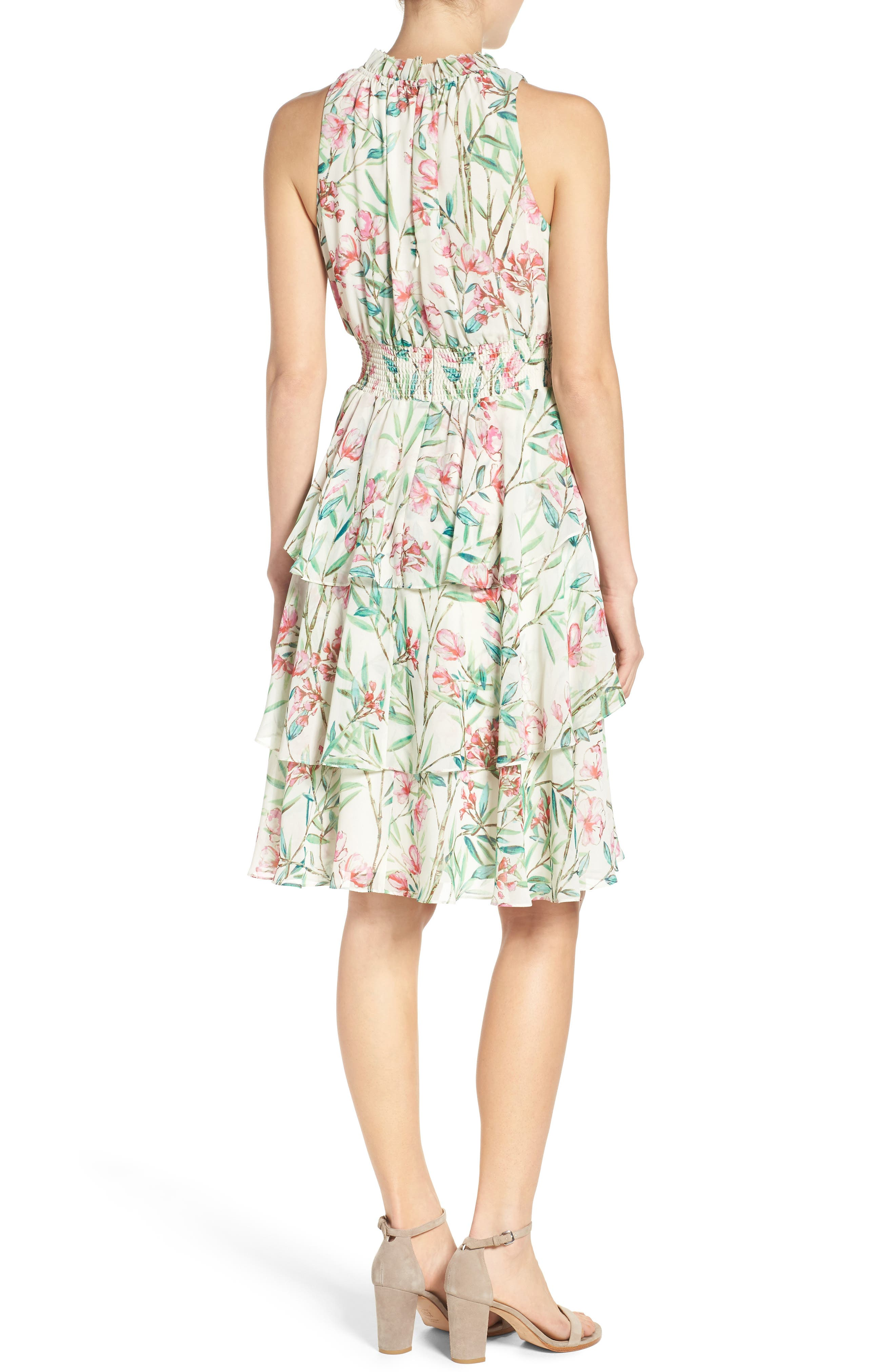Chiffon Fit & Flare Dress,                             Alternate thumbnail 2, color,                             Ivory/ Pink/ Green