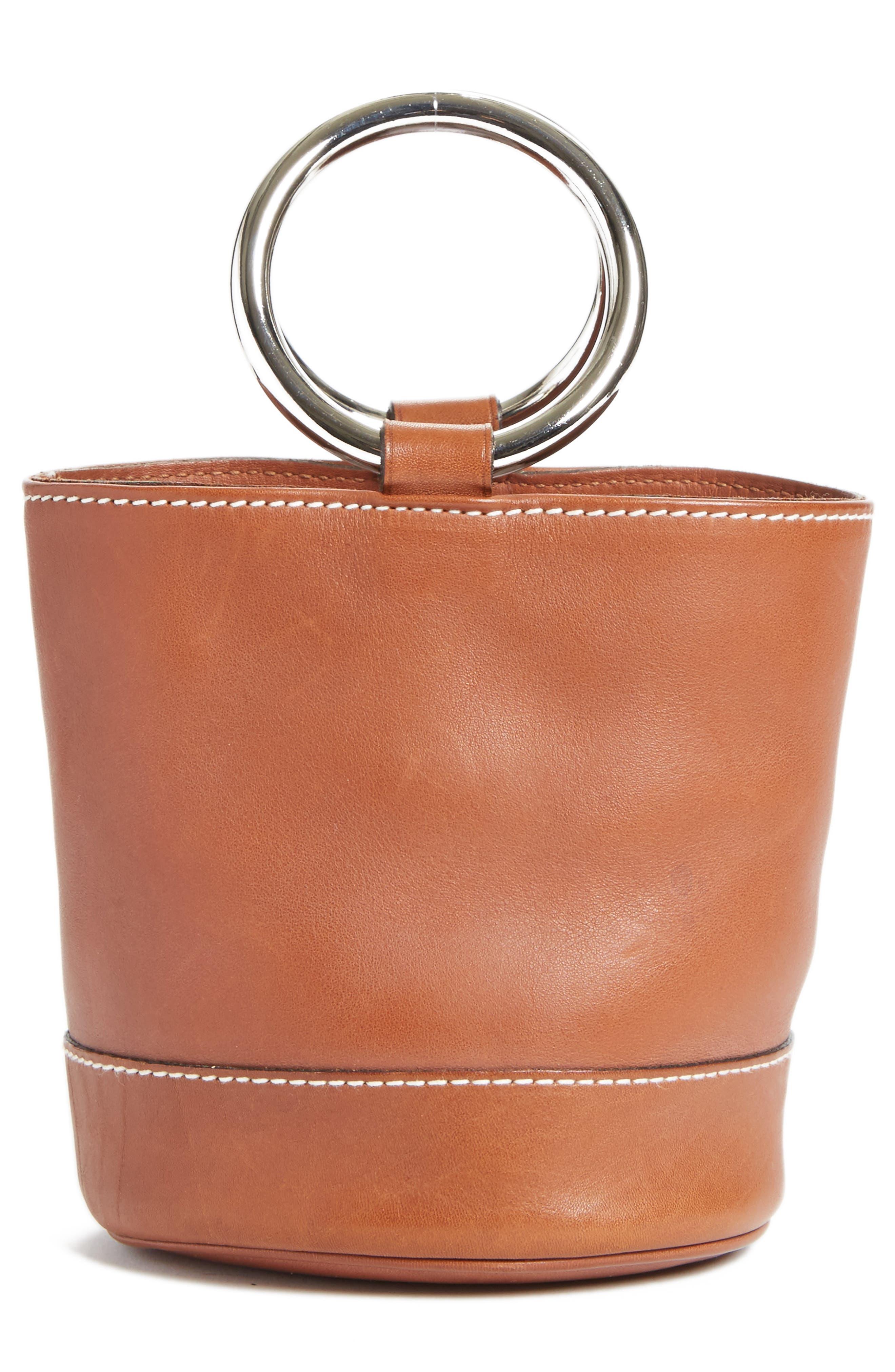 Bonsai Pebbled Leather Bucket Bag,                             Alternate thumbnail 3, color,                             Tan