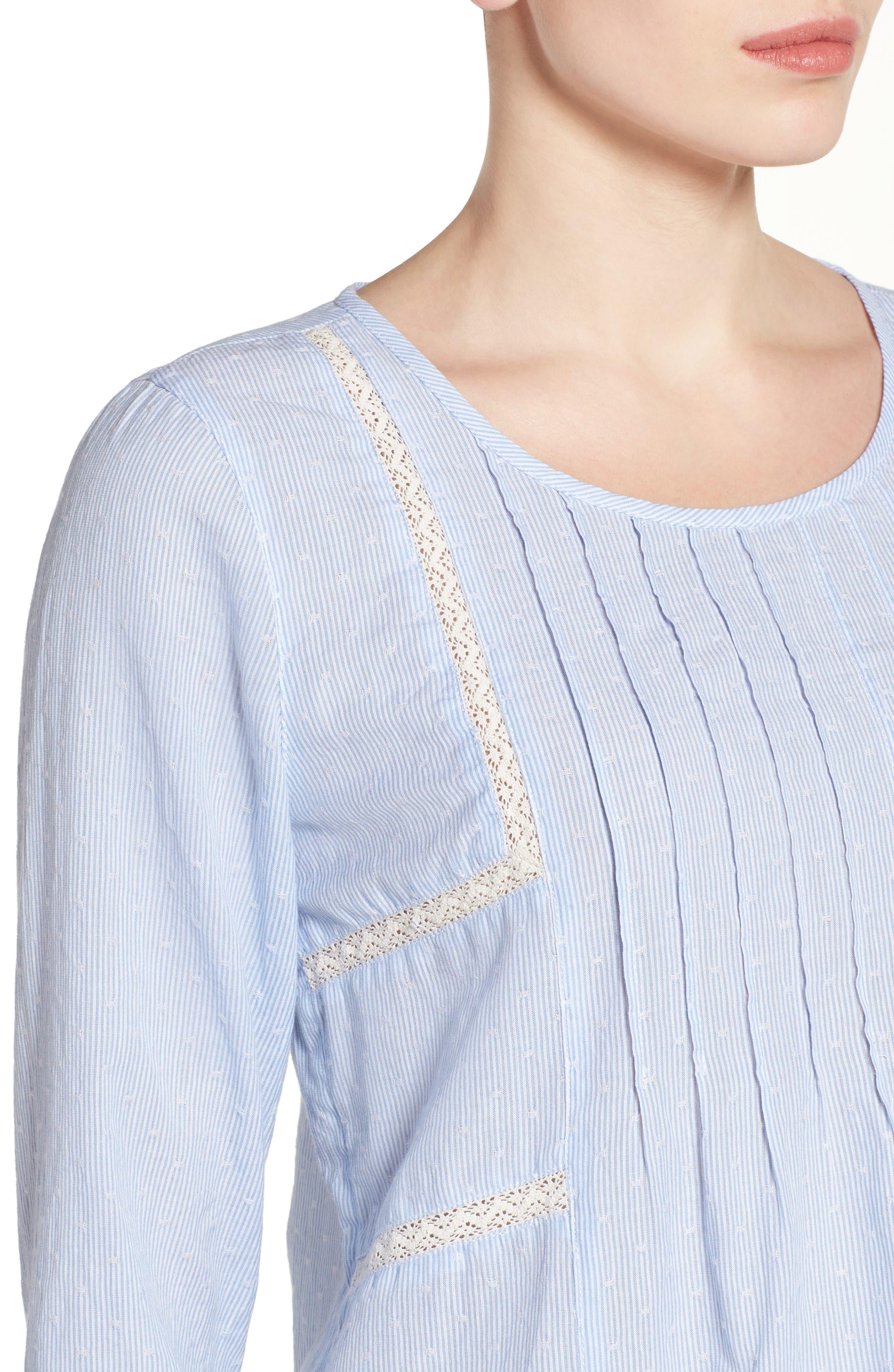 Pintuck Pleat Top,                             Alternate thumbnail 3, color,                             Blue- White Stripe