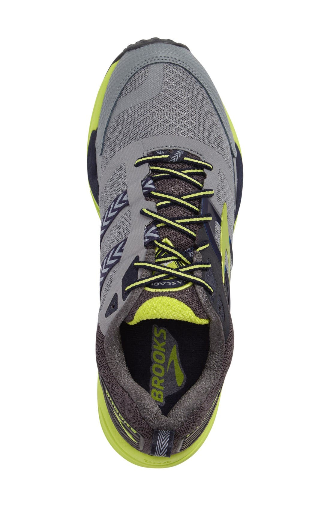 Cascadia 12 Trail Running Shoe,                             Alternate thumbnail 3, color,                             Grey/ Anthracite/ Lime Punch