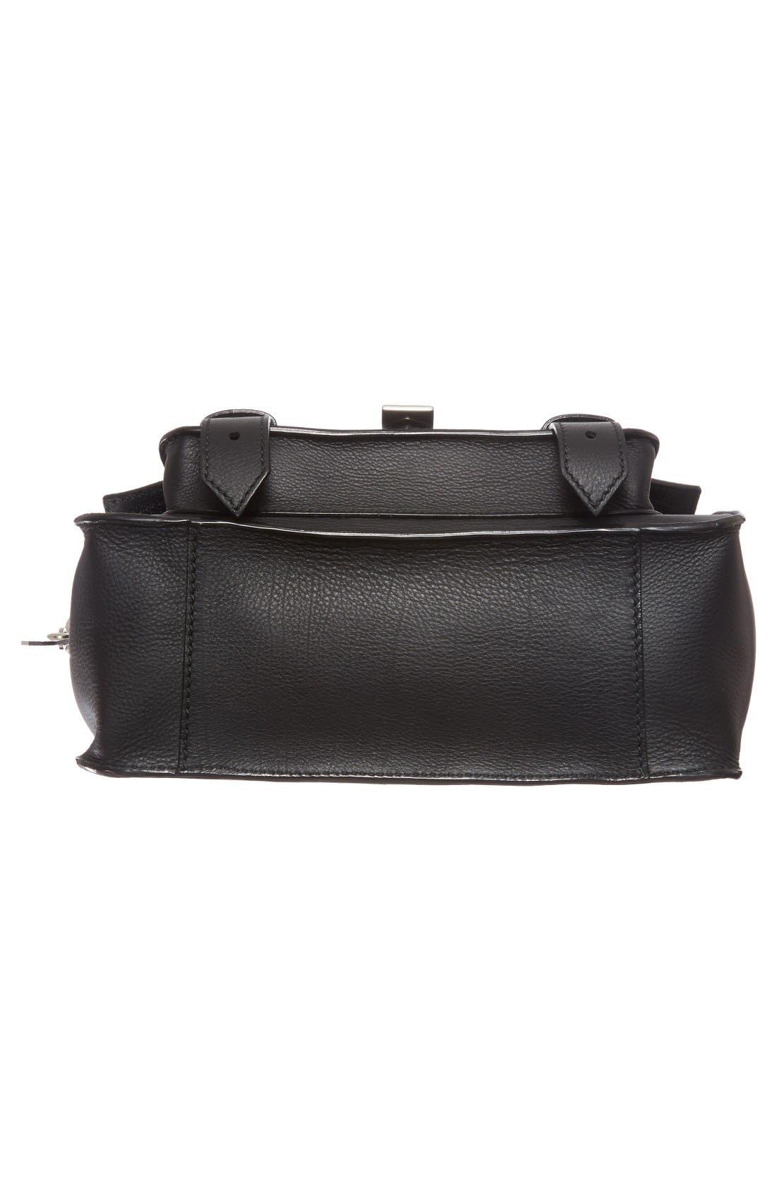 Tiny PS1+ Grainy Leather Satchel,                             Alternate thumbnail 6, color,                             Black