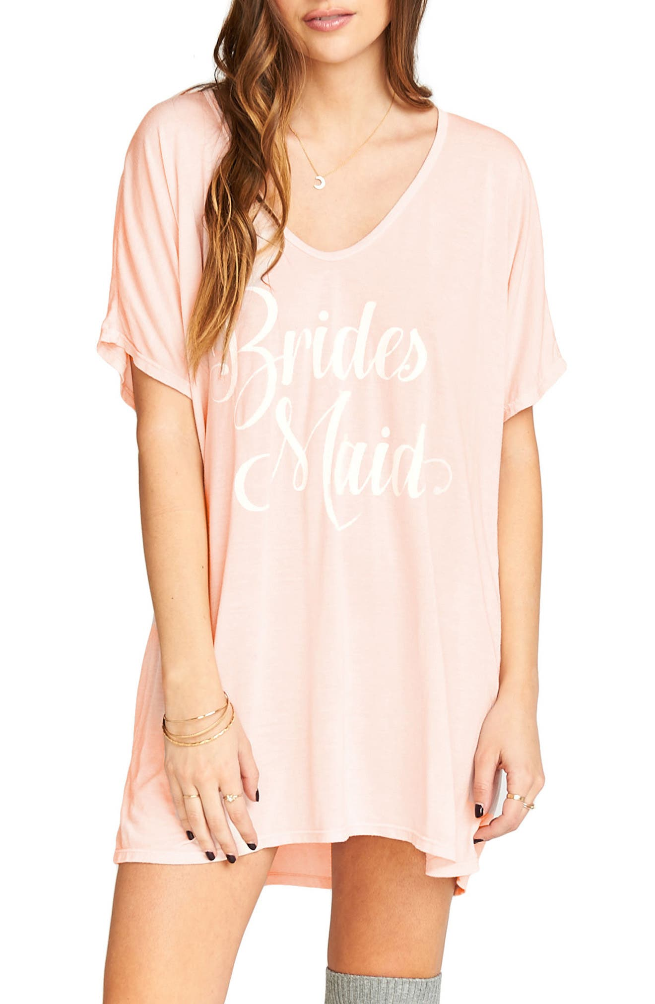 Getting Ready Bridesmaid Tunic,                         Main,                         color, Frost Pink