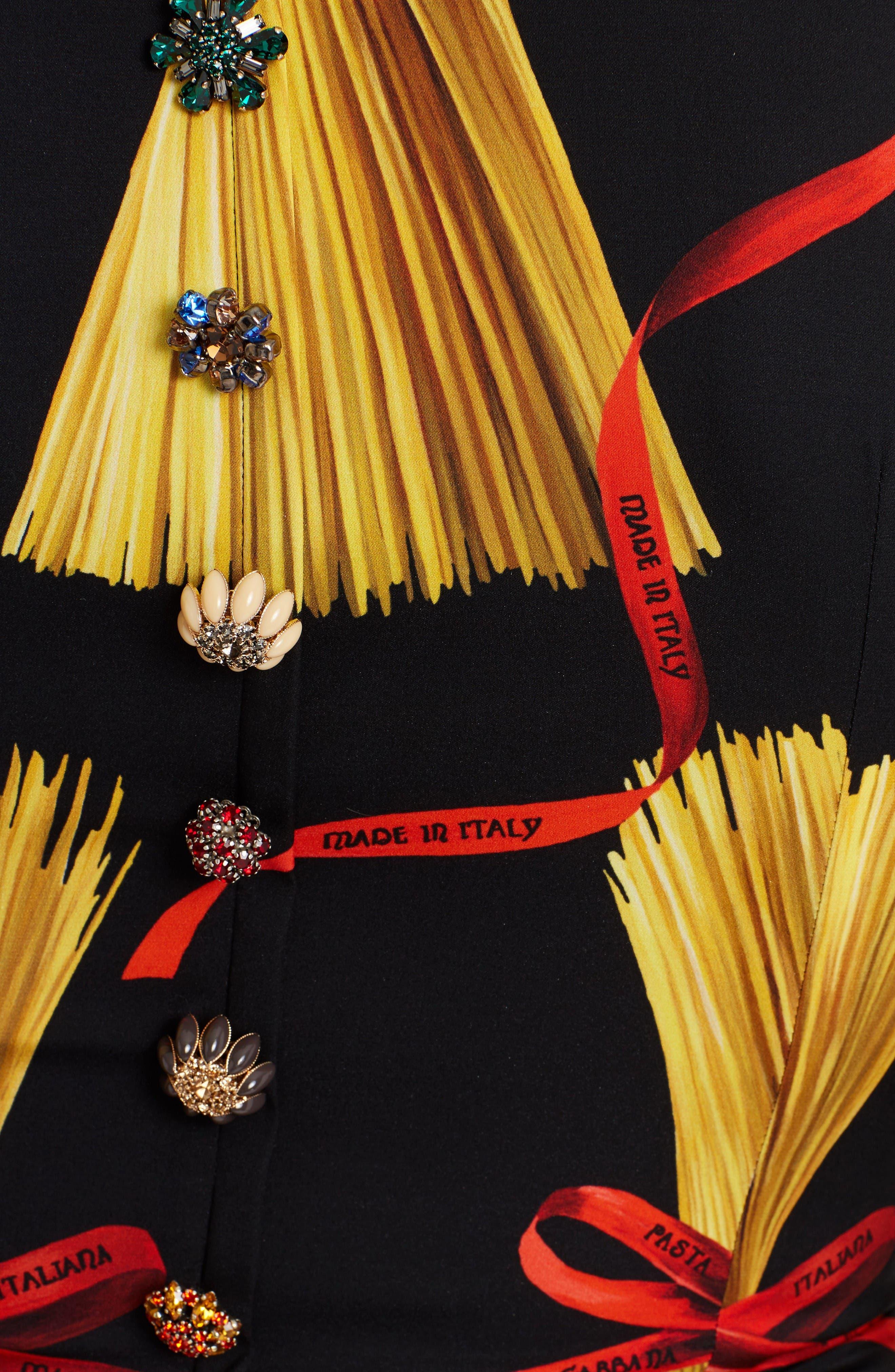 Alternate Image 3  - Dolce&Gabbana Pasta Print Stretch Silk Dress