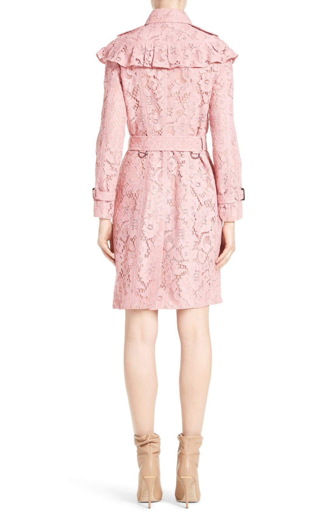 Alternate Image 2  - Burberry Stanhill Ruffle Lace Trench Coat