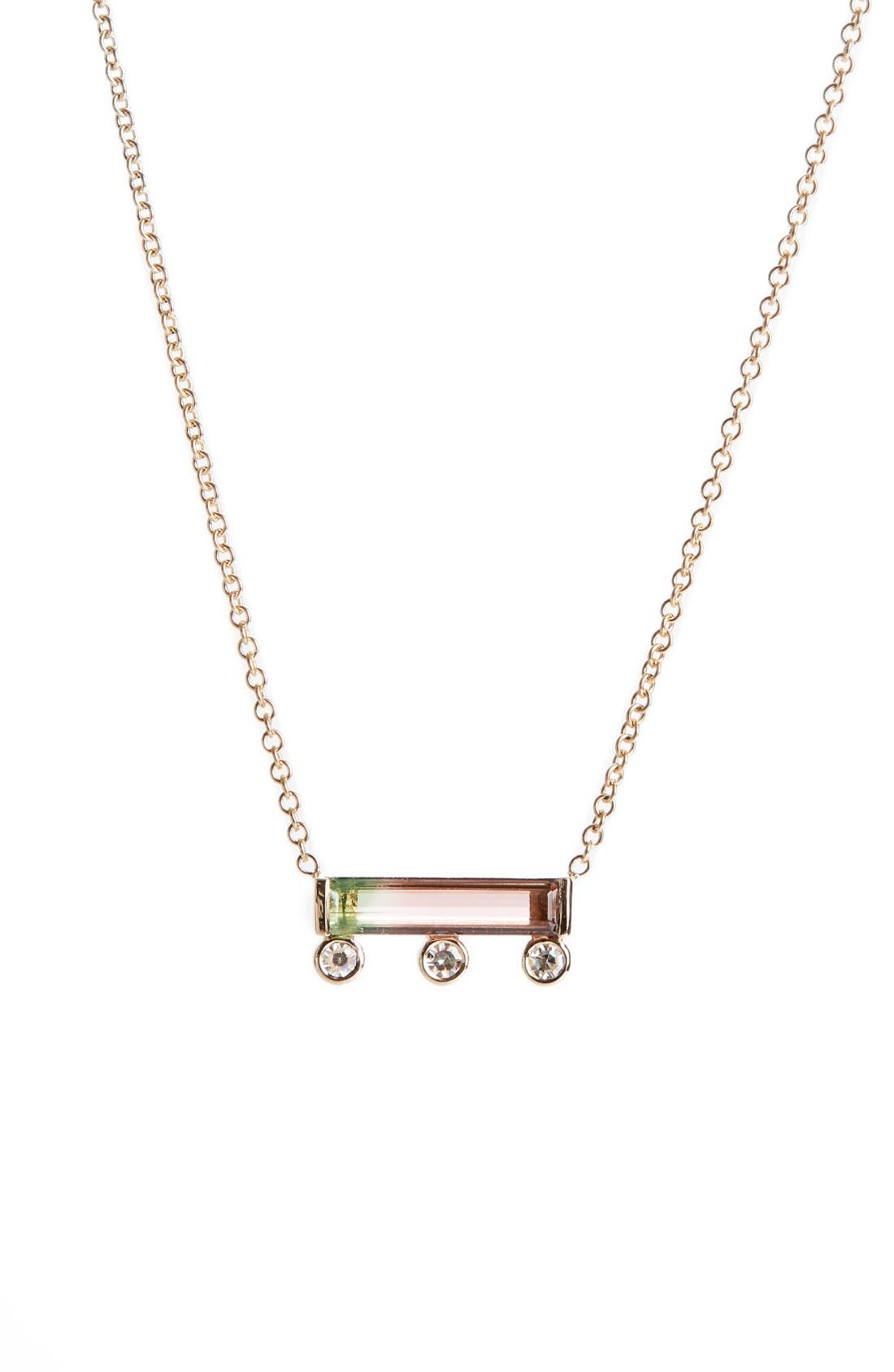MOCIUN Watermelon Tourmaline & Diamond Necklace