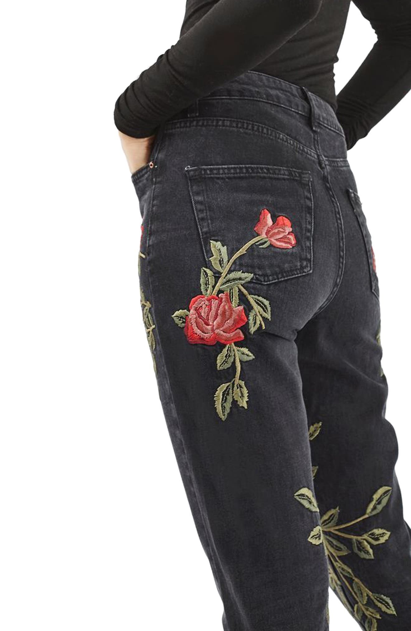 Mom Rose Embroidered Jeans,                             Alternate thumbnail 3, color,                             Washed Black Multi