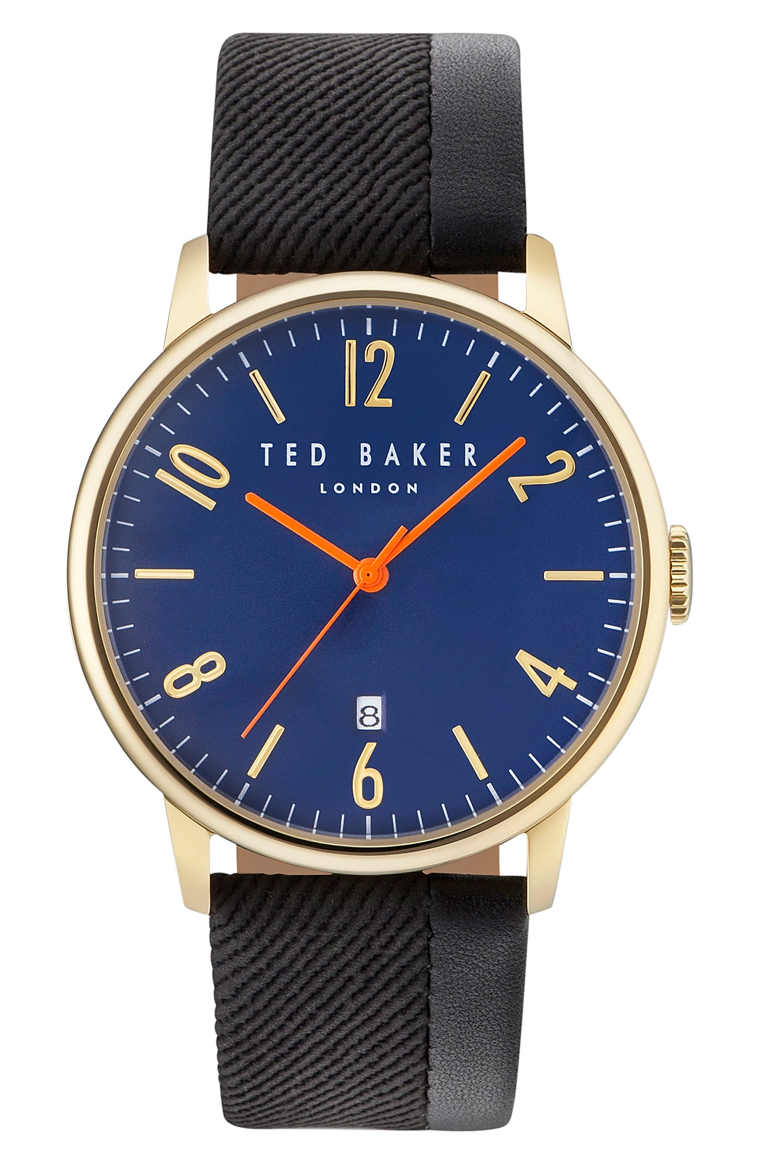 Alternate Image 1 Selected - Ted Baker London Daniel Mixed Media Strap Watch, 42mm