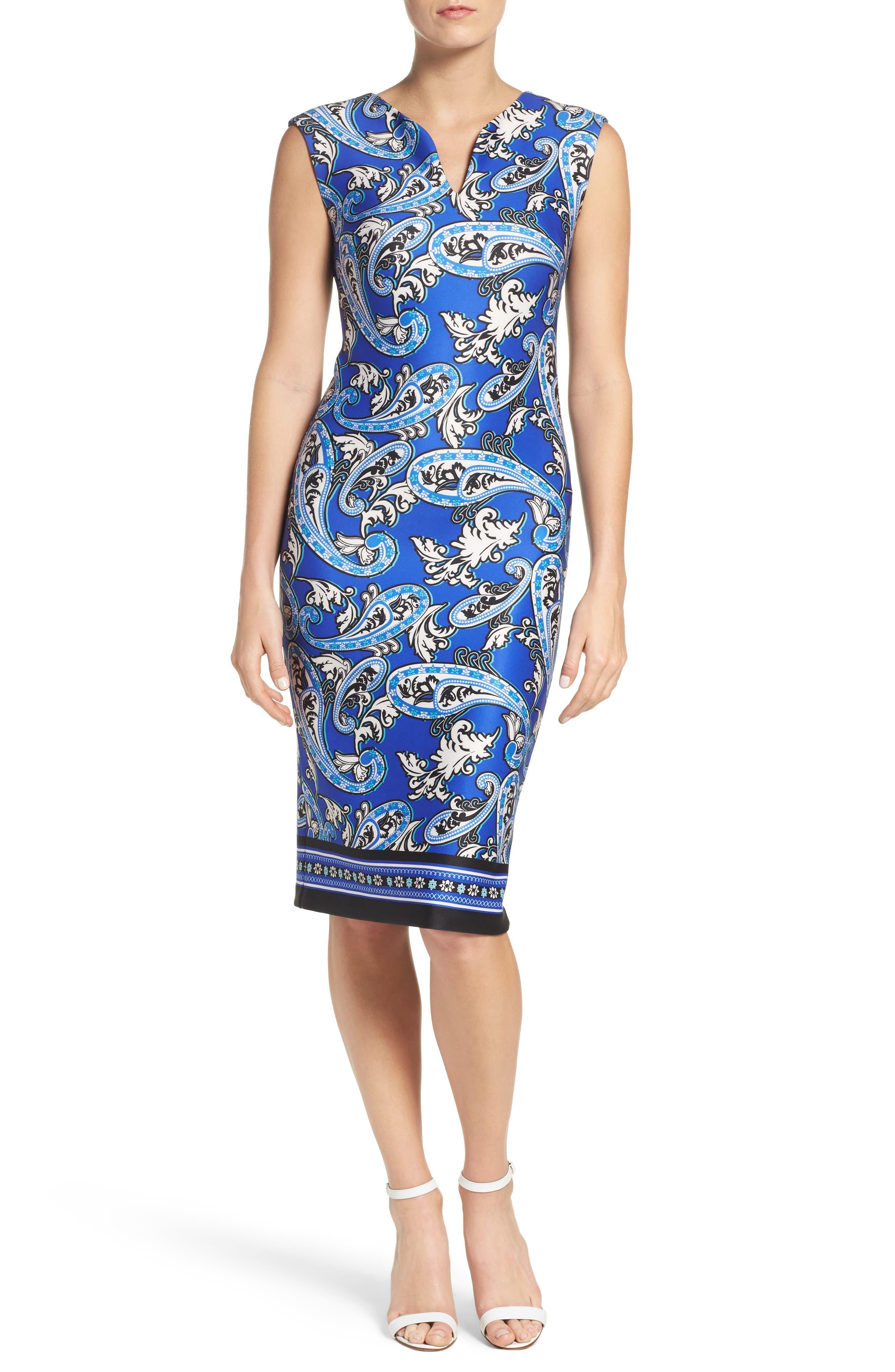 Paisley Scuba Sheath Dress,                             Main thumbnail 1, color,                             Blue