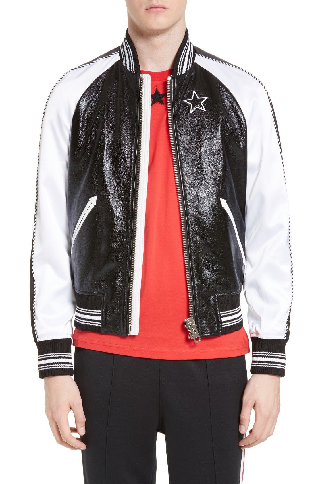 Givenchy Souvenir Leather & Satin Bomber Jacket