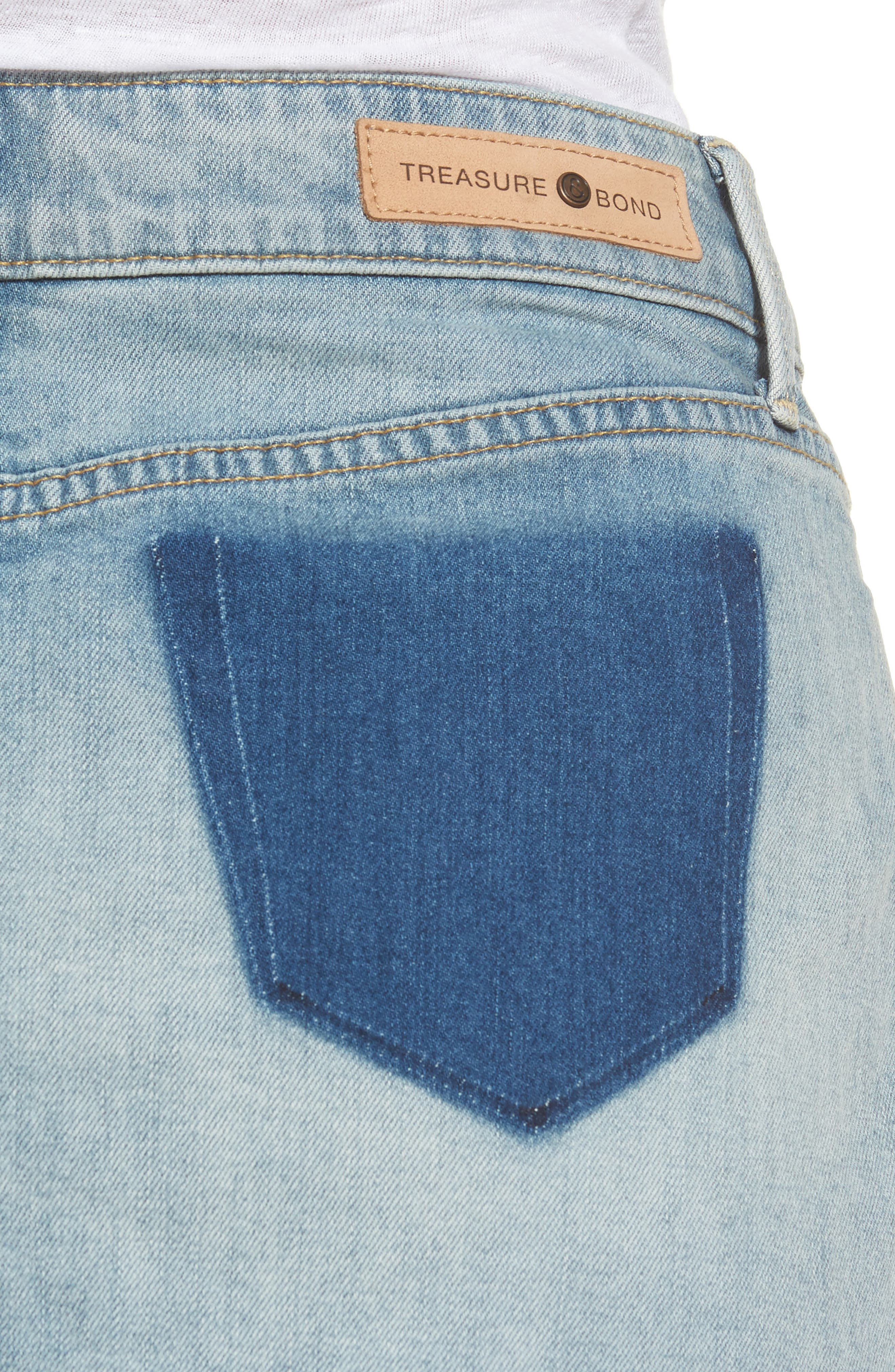 Alternate Image 4  - Treasure & Bond Raw Hem Denim Miniskirt