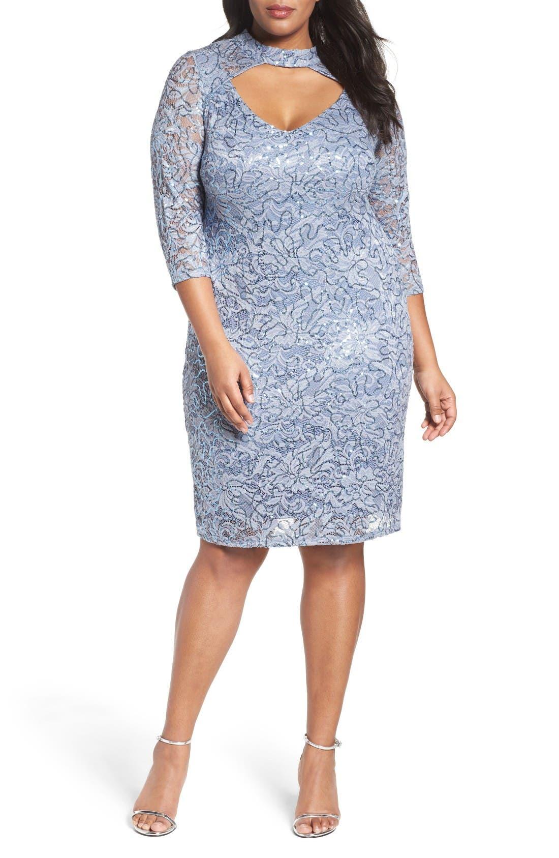 Cutout Sequin Lace Sheath Dress,                         Main,                         color, Cornflower