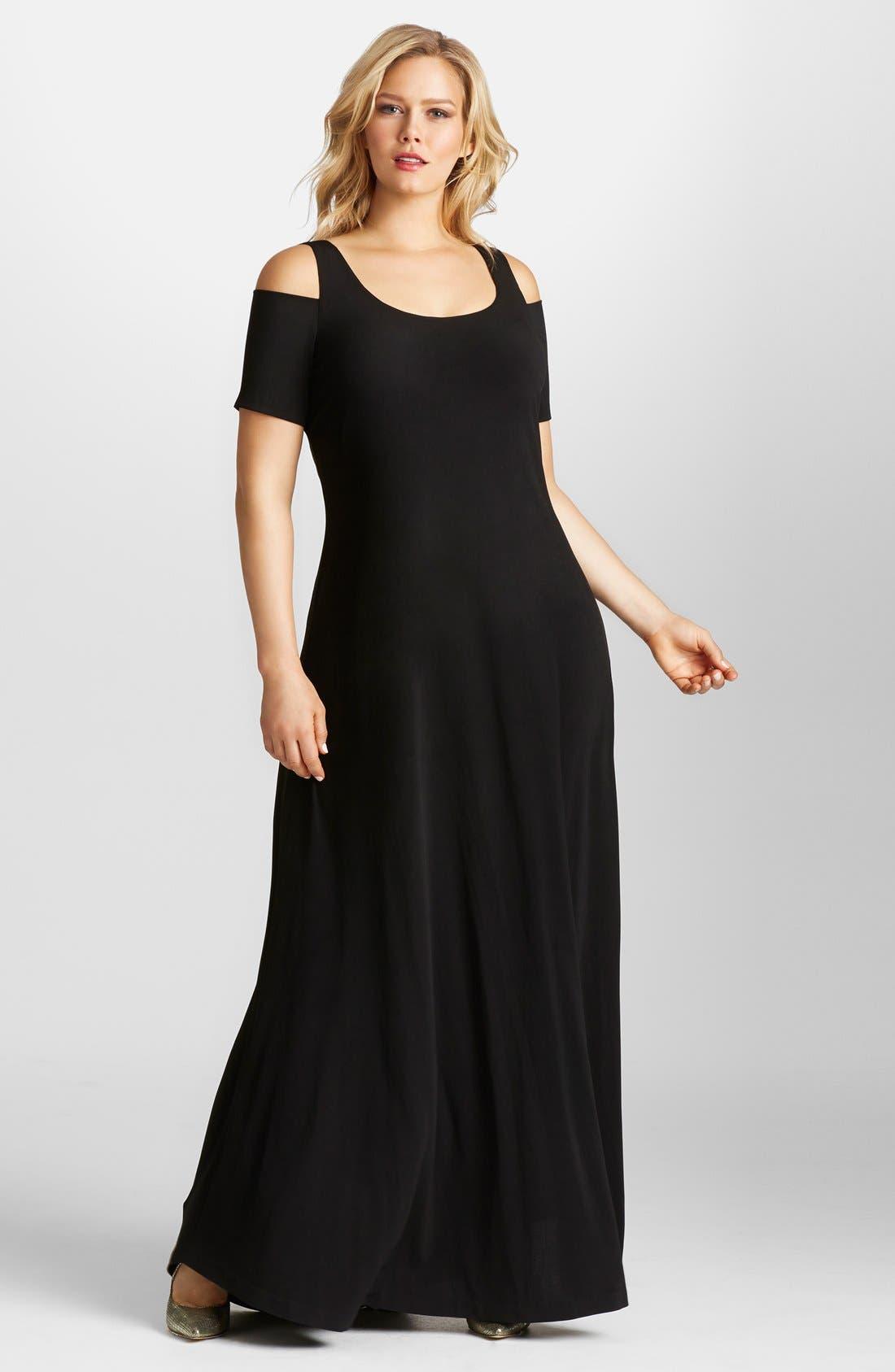 Main Image - Mynt 1792 Cold Shoulder Maxi Dress (Plus Size)
