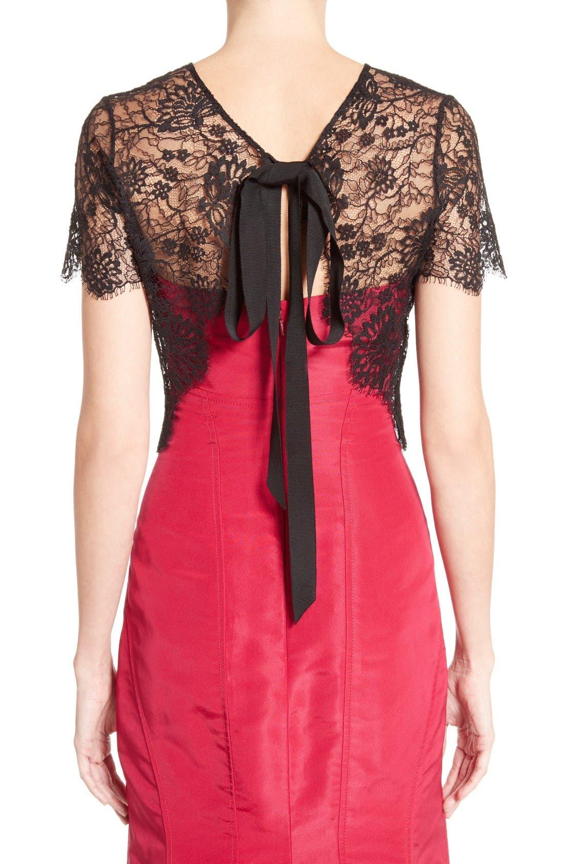 Alternate Image 2  - Oscar de la Renta Tie Back Lace Bolero