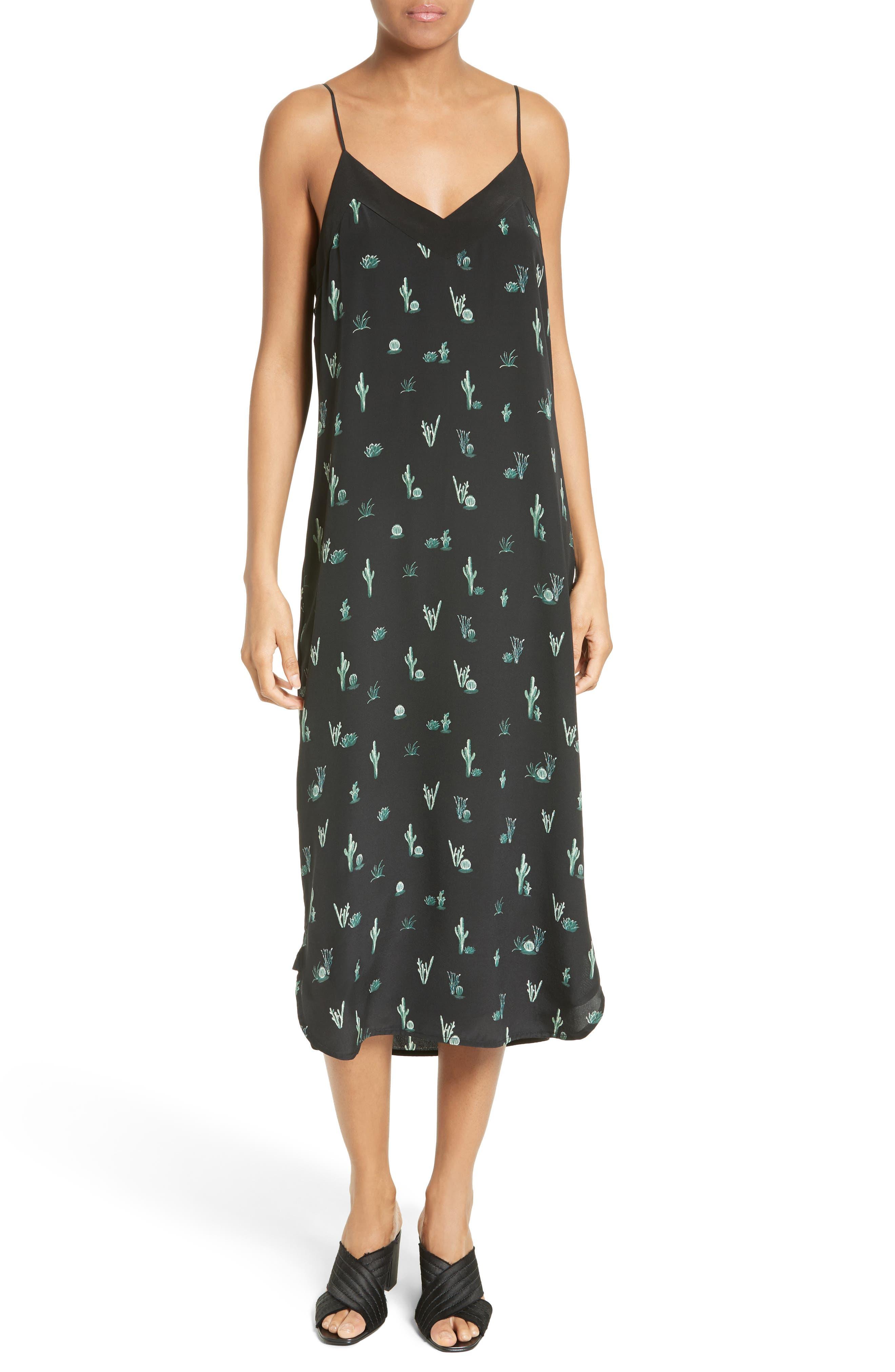 Dian Silk Slipdress,                         Main,                         color, True Black Multi
