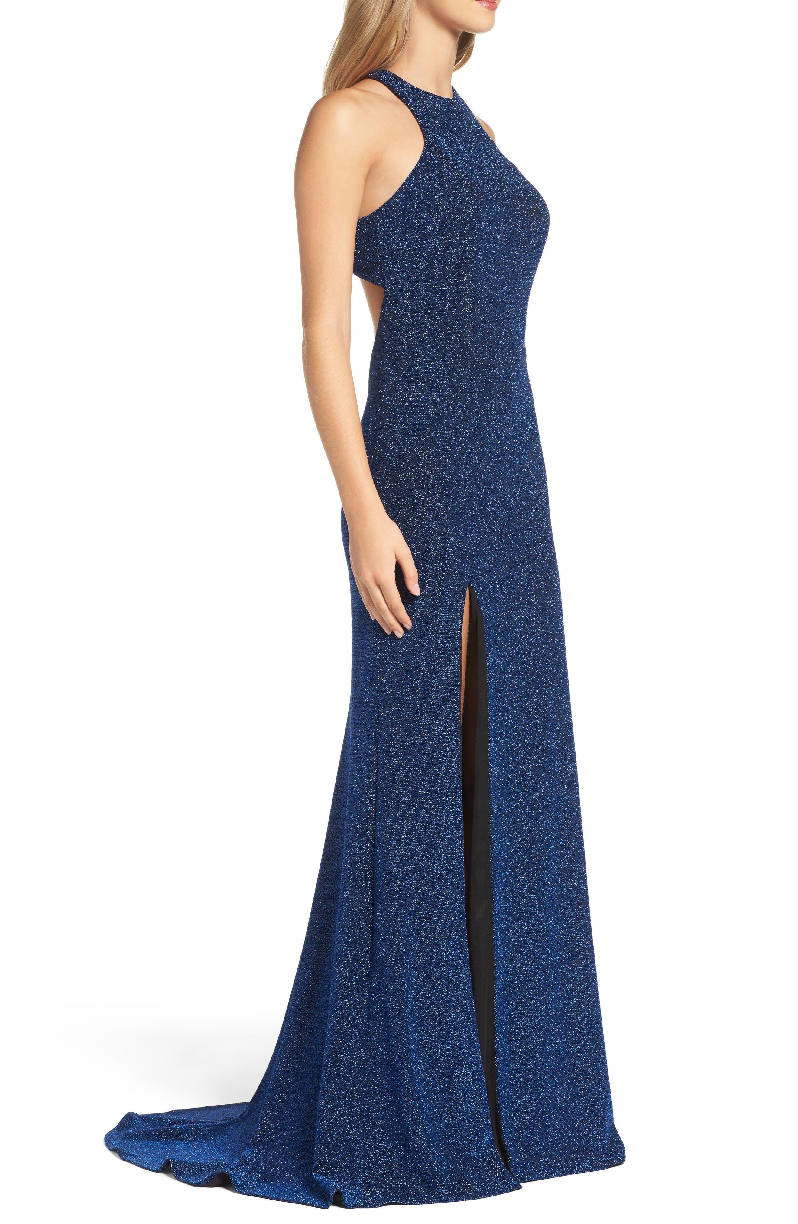 Alternate Image 3  - La Femme Cutout Metallic Jersey Gown