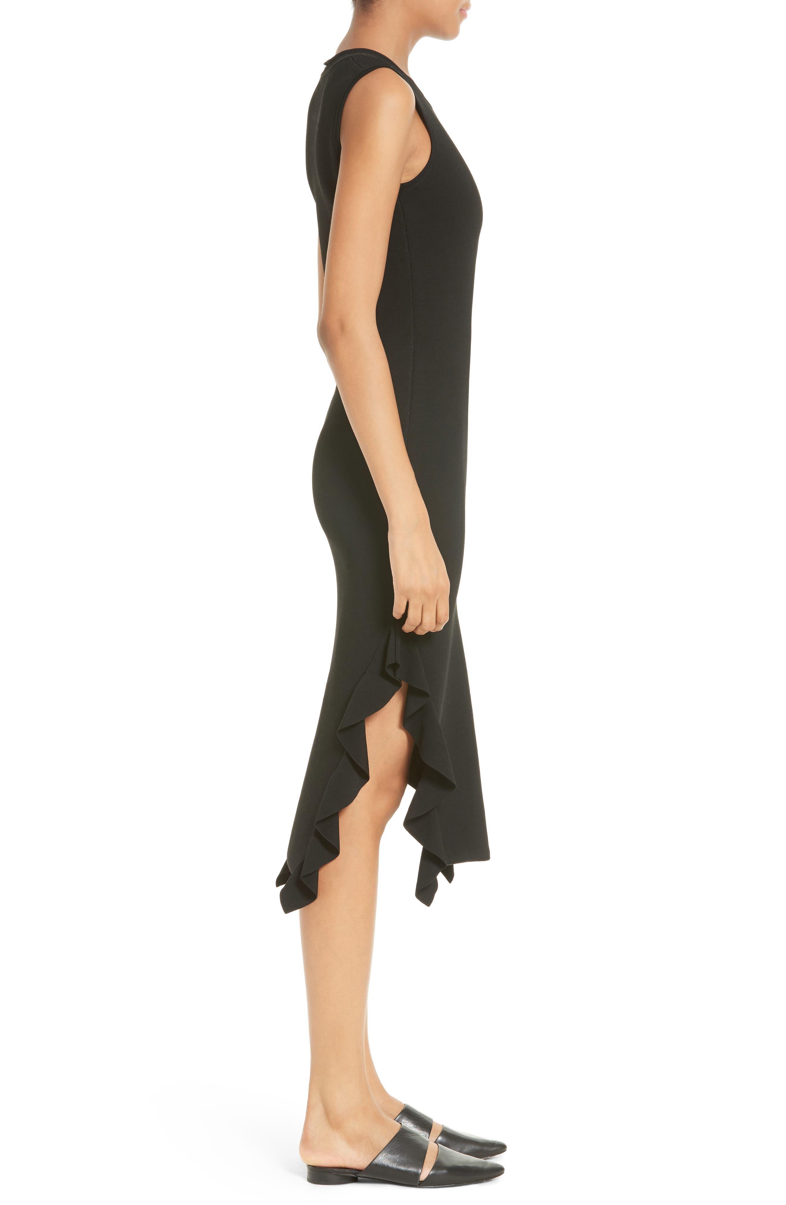 Flounce Hem Dress,                             Alternate thumbnail 3, color,                             Black