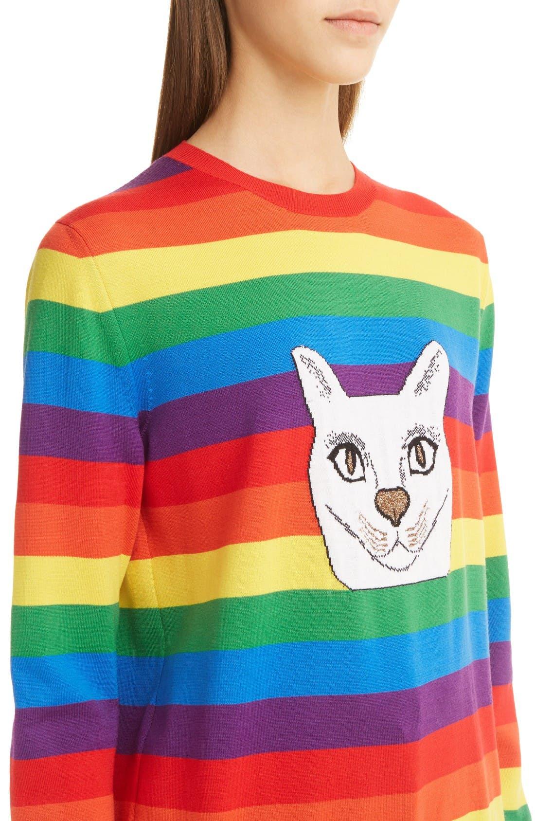 Alternate Image 5  - Loewe Cat Rainbow Stripe Wool Blend Sweater