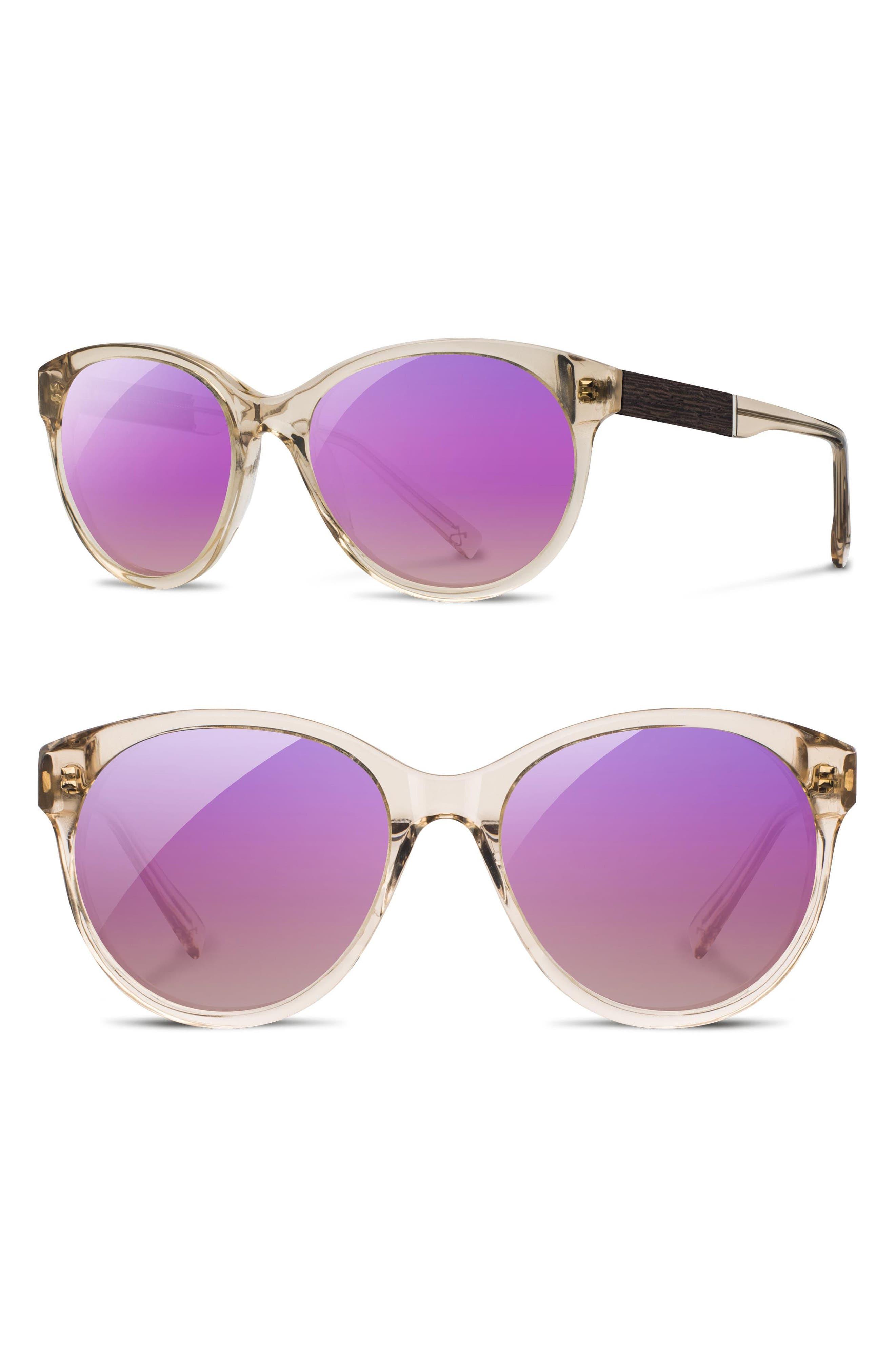 Madison Acetate Polarized Sunglasses,                         Main,                         color, Champagne/ Ebony/ Rose Polar