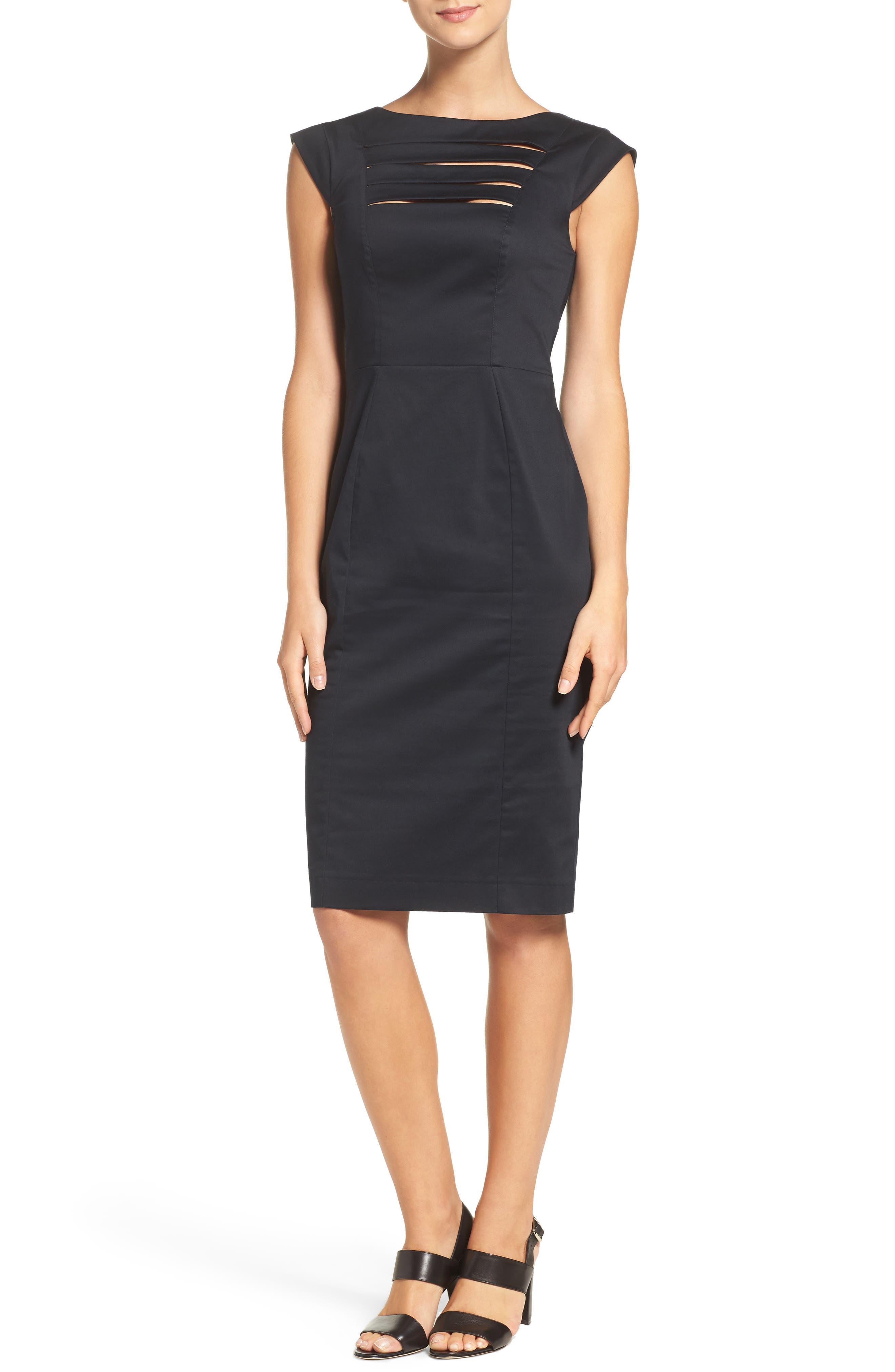 'Estelle' Cutout Cotton Blend Sheath Dress,                             Alternate thumbnail 4, color,                             Black/ Black