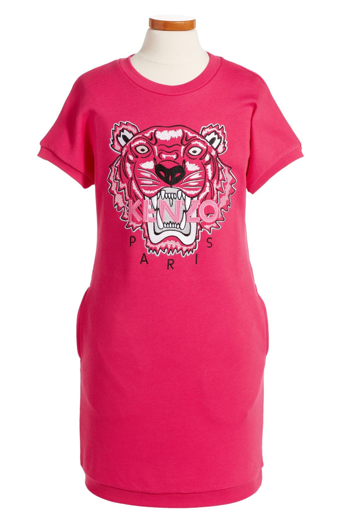Embroidered Tiger Sweatshirt Dress,                             Main thumbnail 1, color,                             Fuchsia