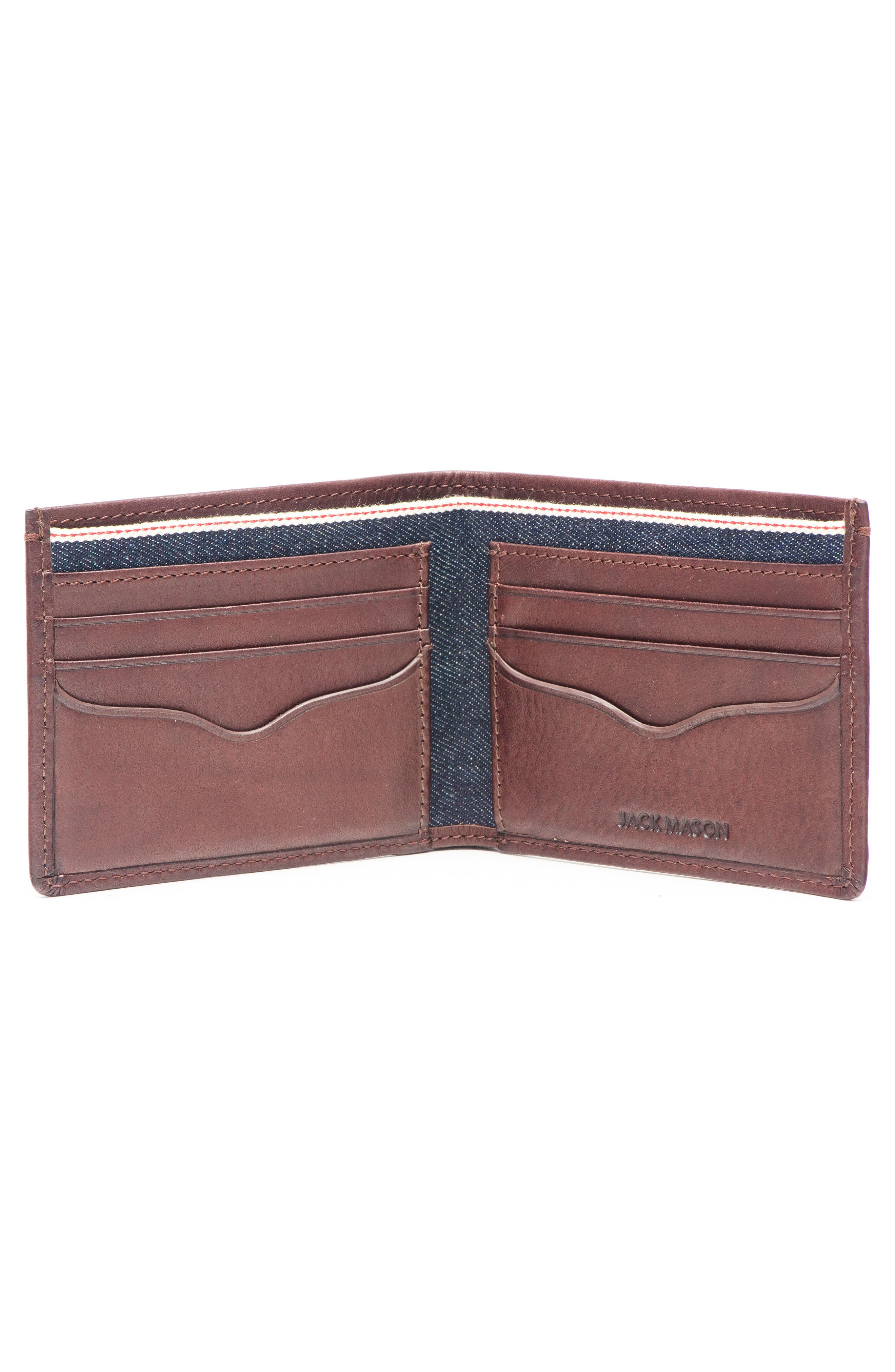 Leather & Denim Bifold Wallet,                             Alternate thumbnail 2, color,                             Blue Denim And Brown Leather