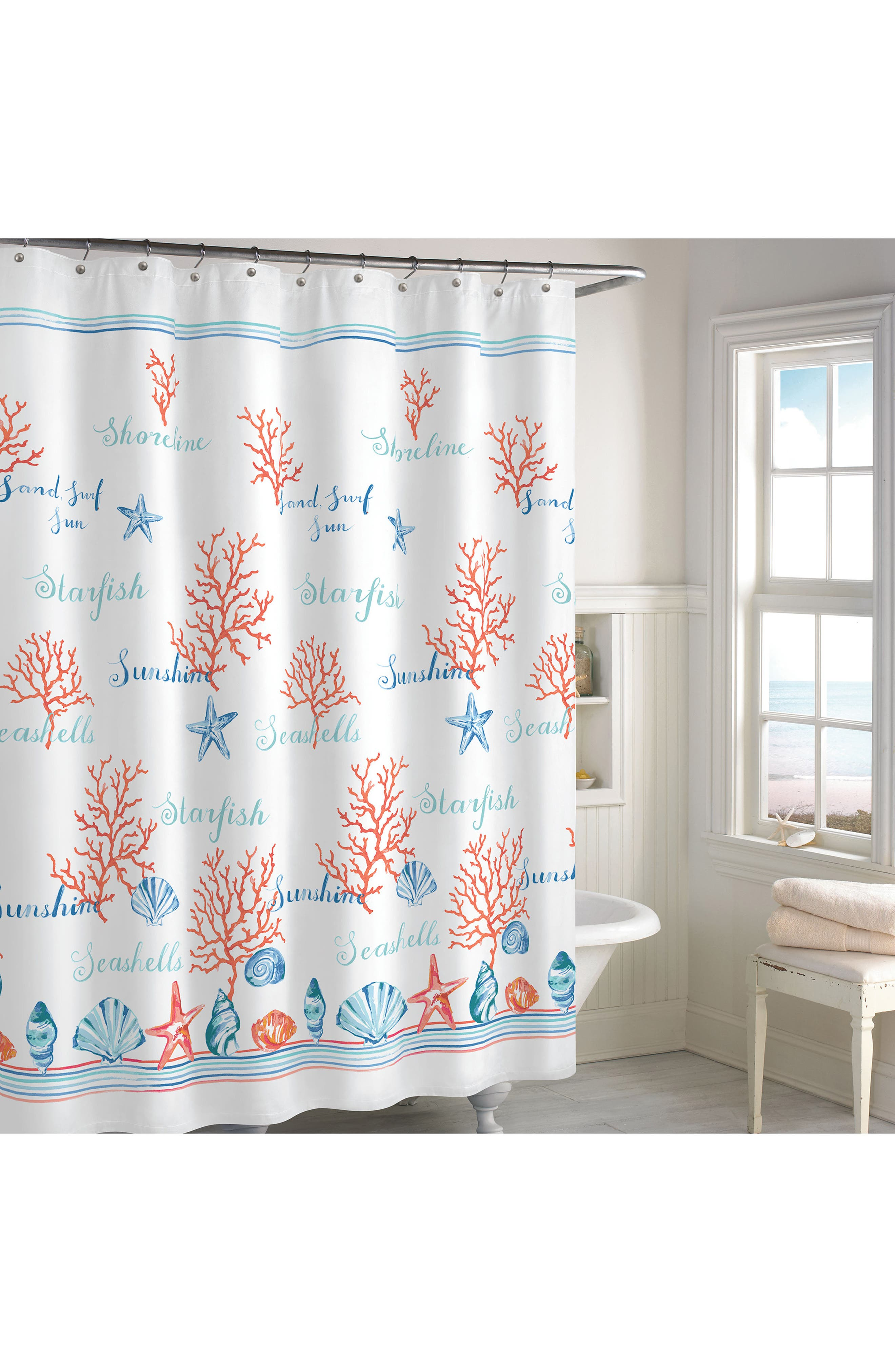 Acapulco Shower Curtain,                         Main,                         color, Coral/ Multi