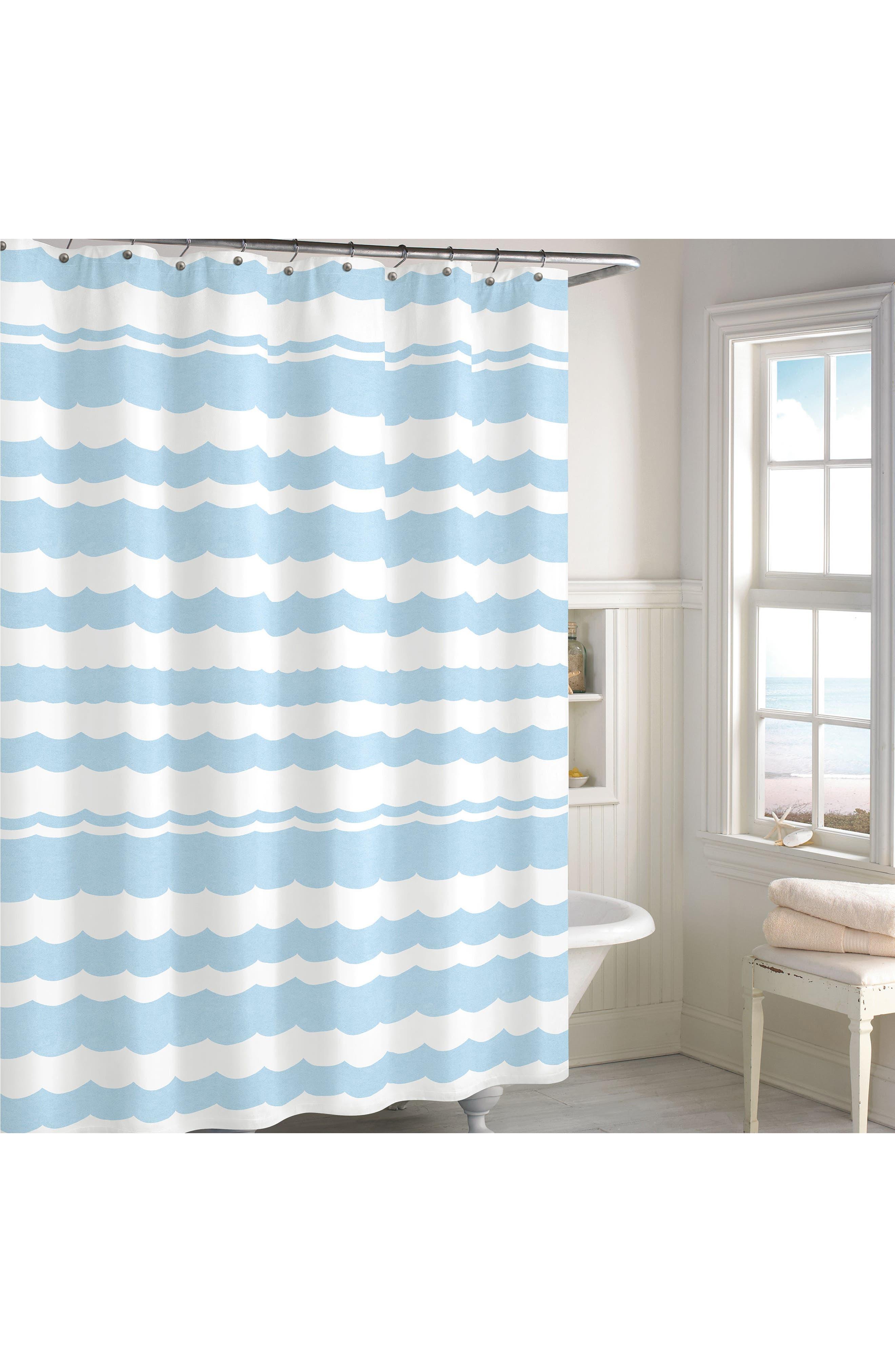 Wave Scallop Shower Curtain,                             Main thumbnail 1, color,                             Blue