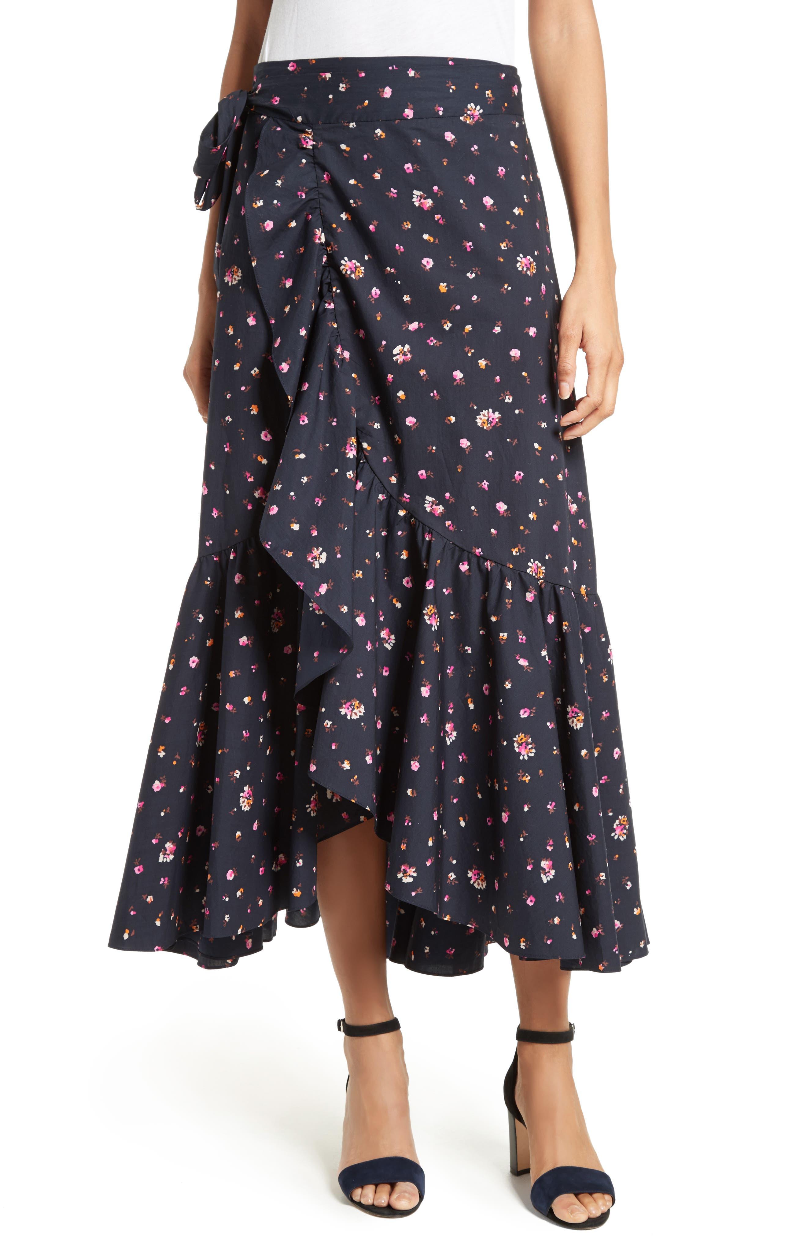 Mia Print Poplin Wrap Skirt,                         Main,                         color, Dark Navy