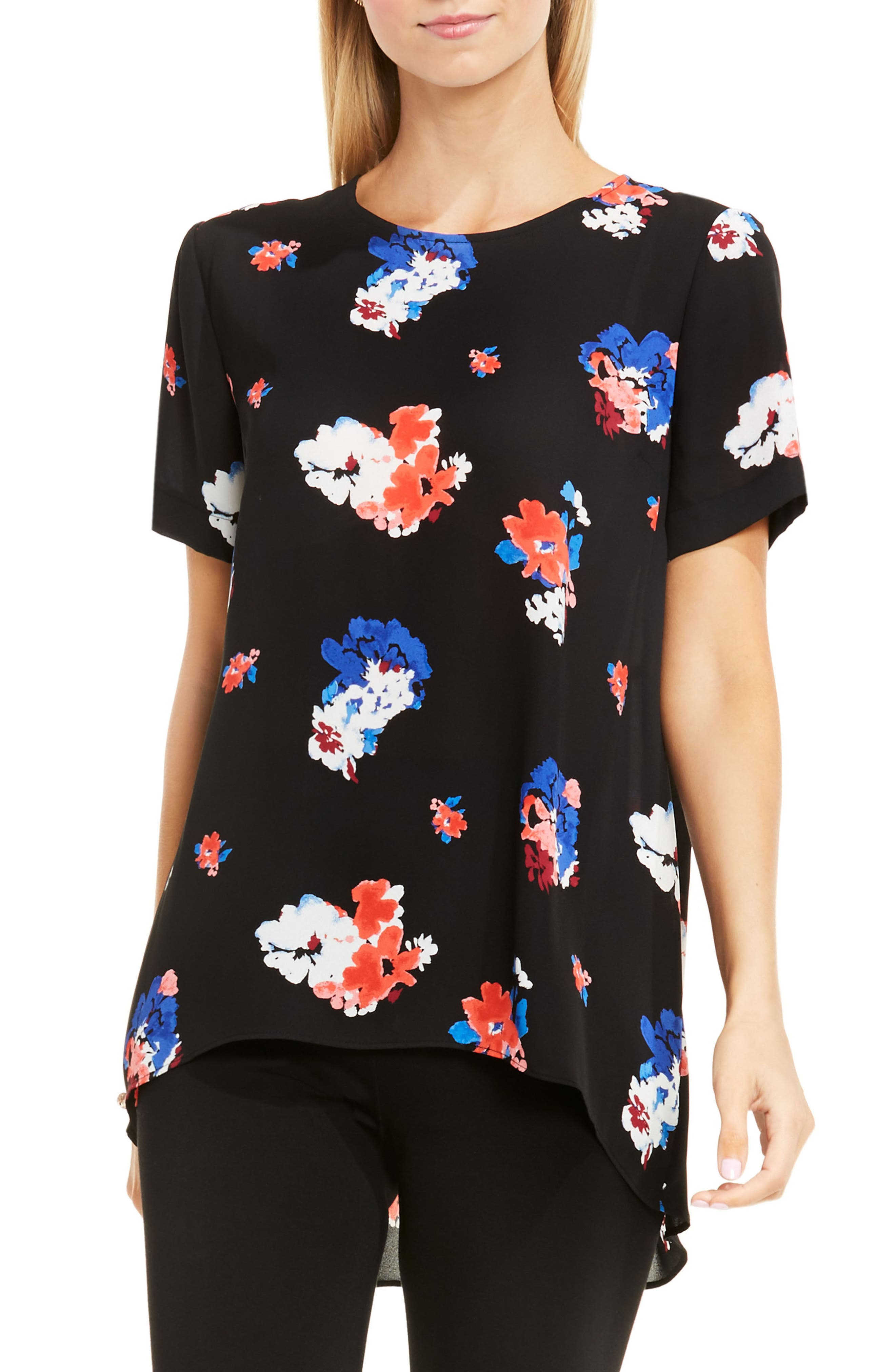 Main Image - Vince Camuto High/Low Floral Blouse