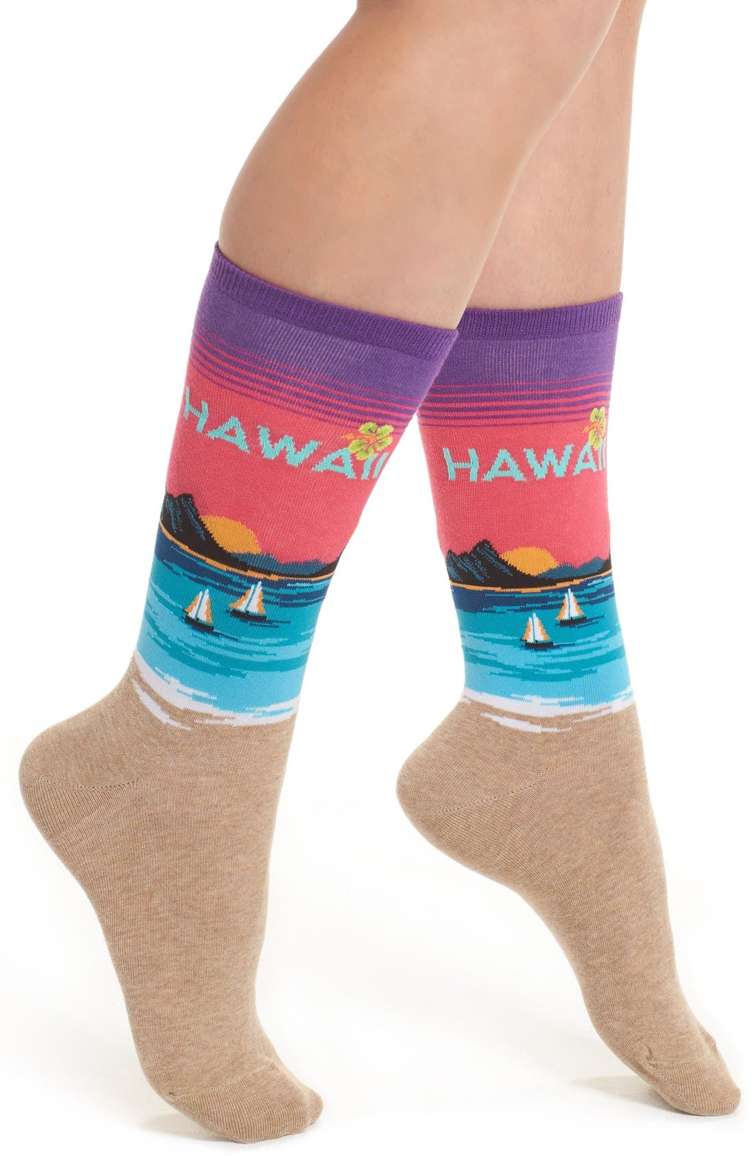 Alternate Image 1 Selected - Hot Sox Hawaii Crew Socks
