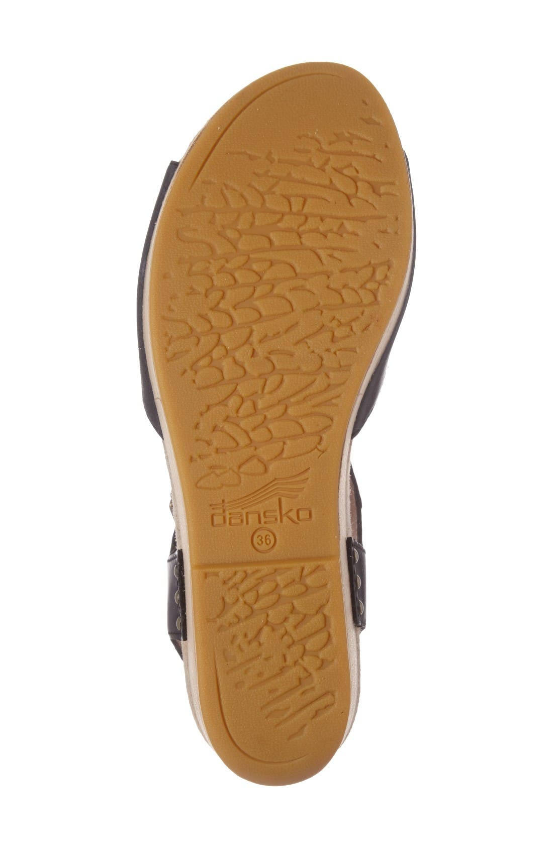 Silvie Platform Wedge Sandal,                             Alternate thumbnail 4, color,                             Black Leather