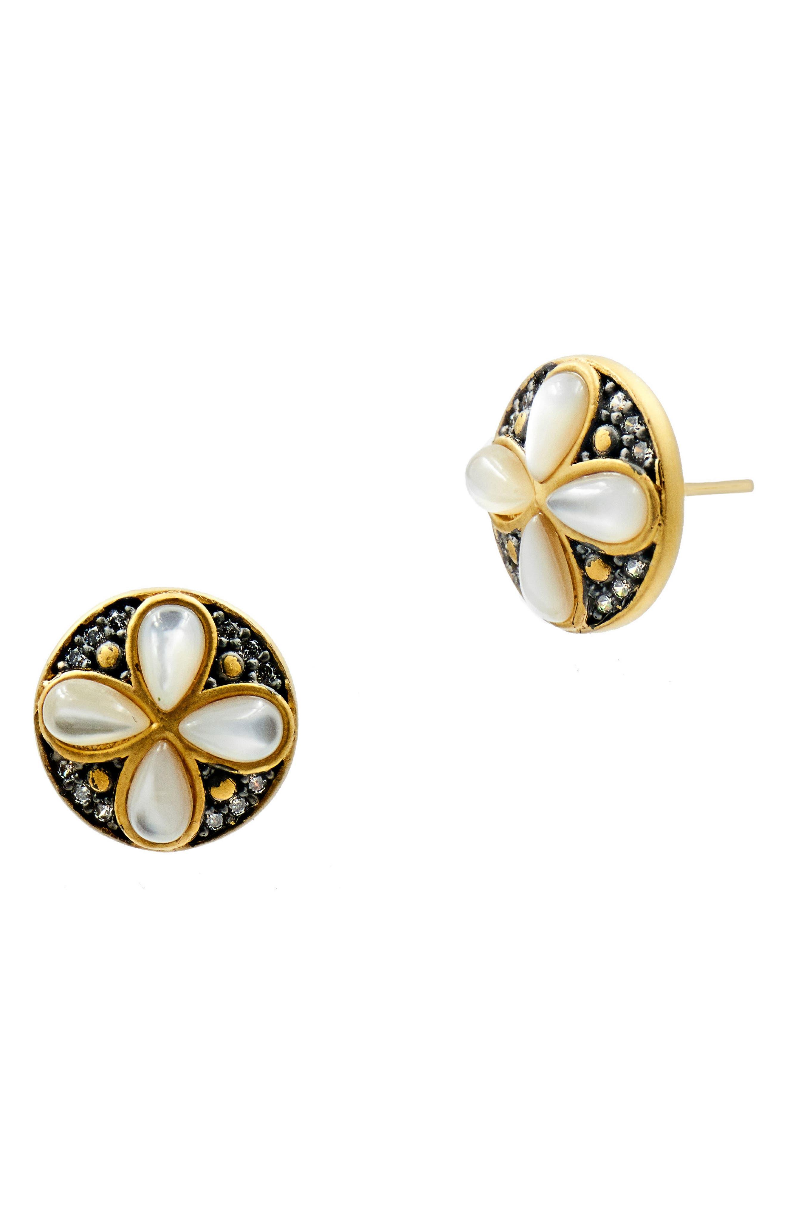 FREIDA ROTHMAN Fleur Bloom Petal Stud Earrings