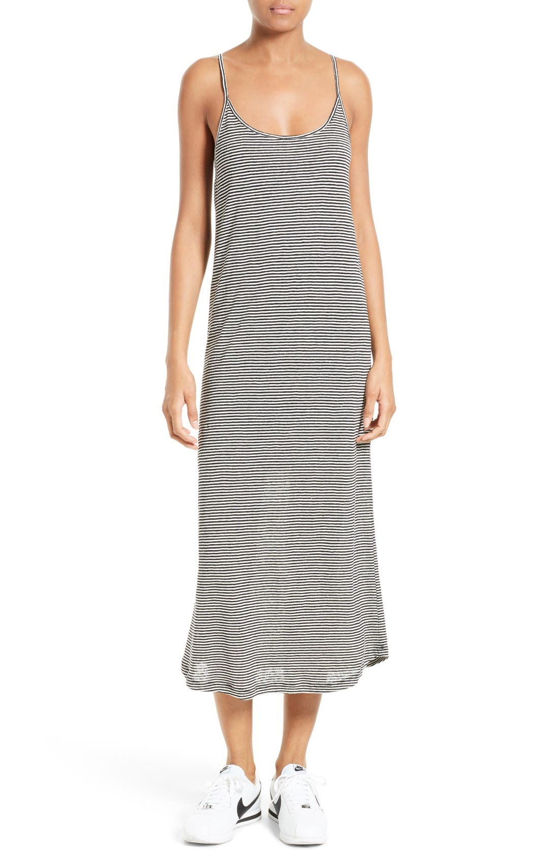 Alternate Image 1 Selected - A.L.C. Asher Stripe Linen Midi Dress