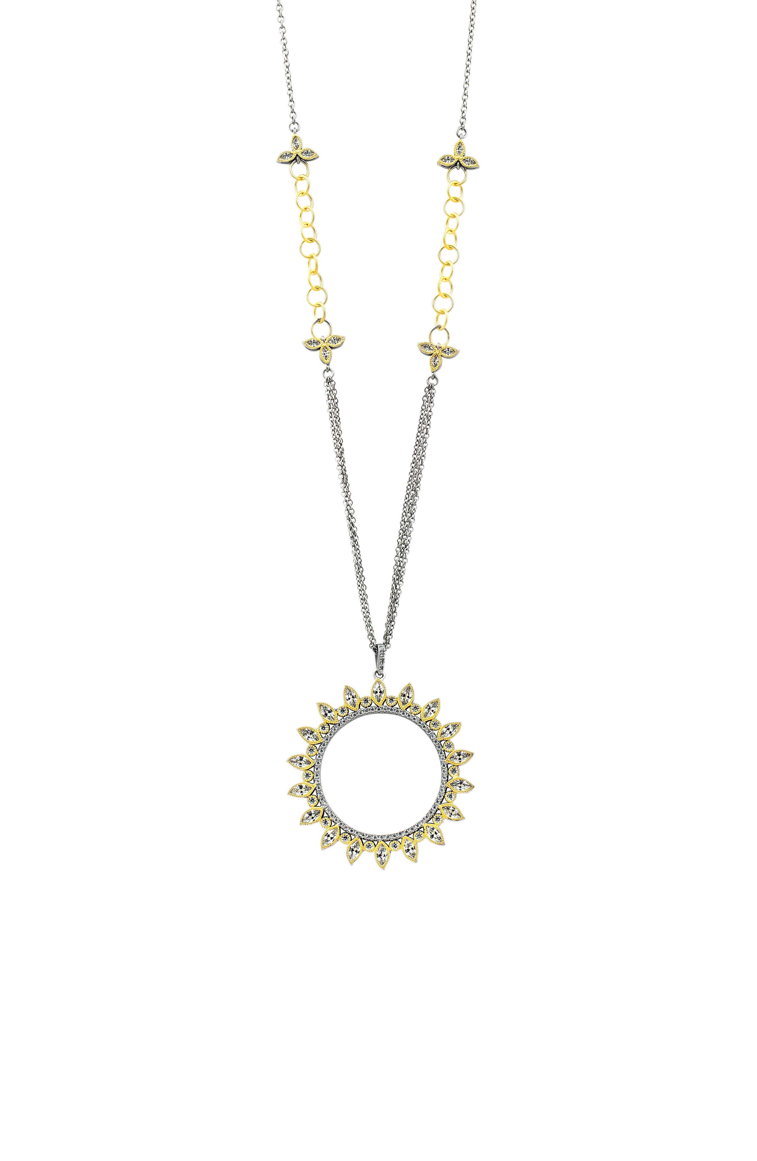 FREIDA ROTHMAN Fleur Bloom Openwork Pendant Necklace