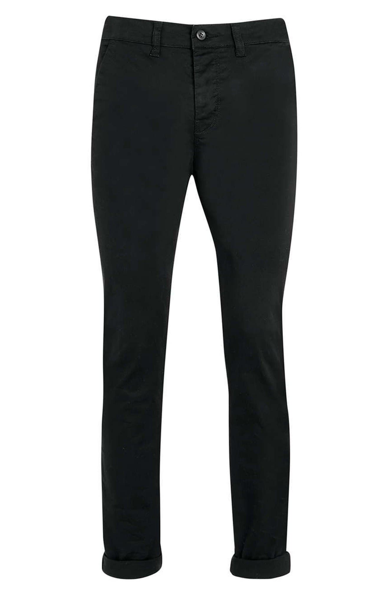 Stretch Skinny Fit Chinos,                             Alternate thumbnail 5, color,                             Black