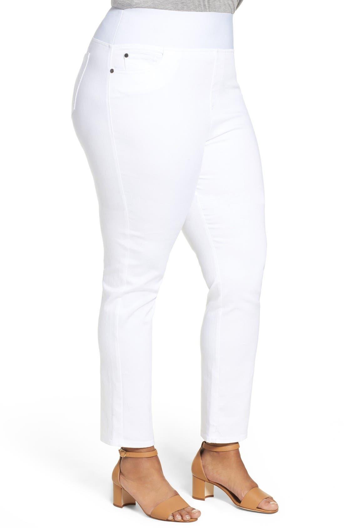Nina Slimming Pull-On Legging Jeans,                             Alternate thumbnail 3, color,                             White