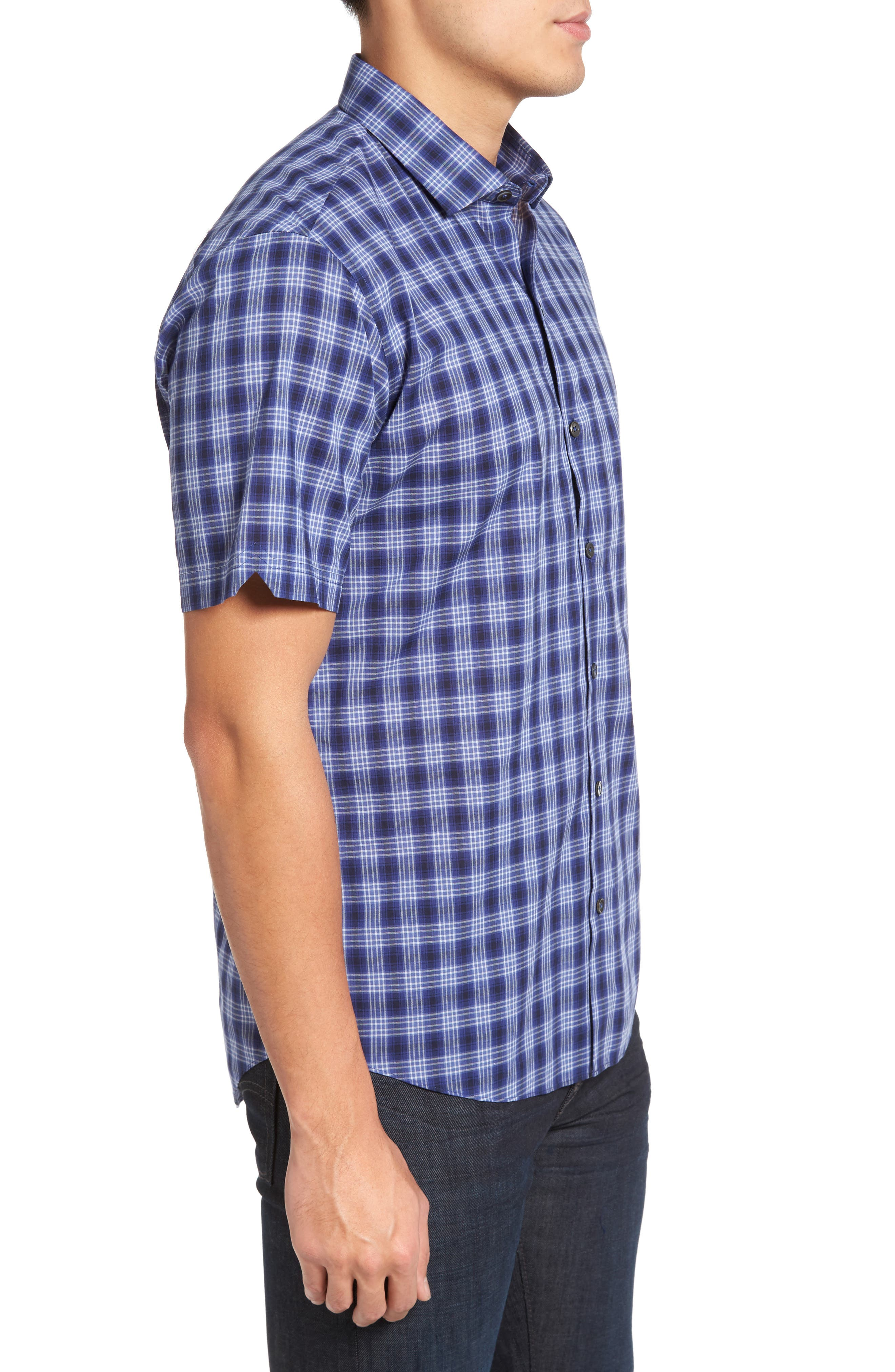 Medina Slim Fit Plaid Sport Shirt,                             Alternate thumbnail 3, color,                             Pacific