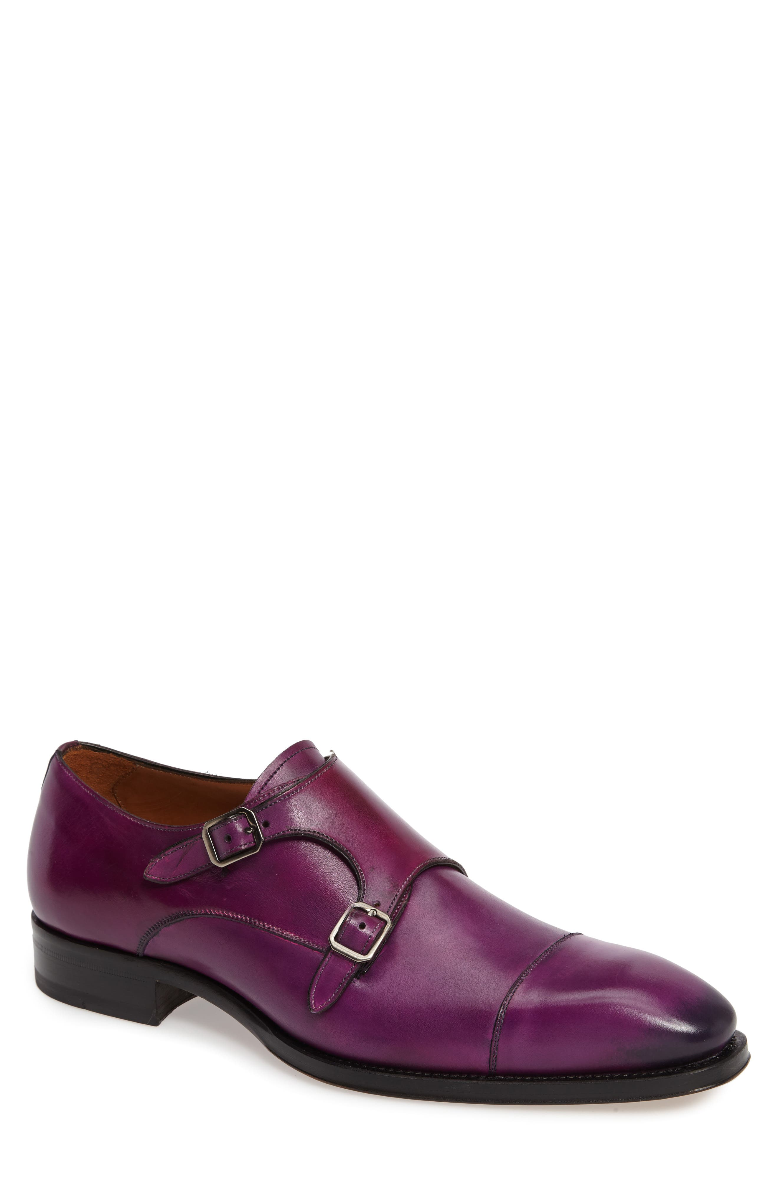 Cajal Double Monk Strap Cap Toe Shoe,                             Main thumbnail 1, color,                             Purple Leather