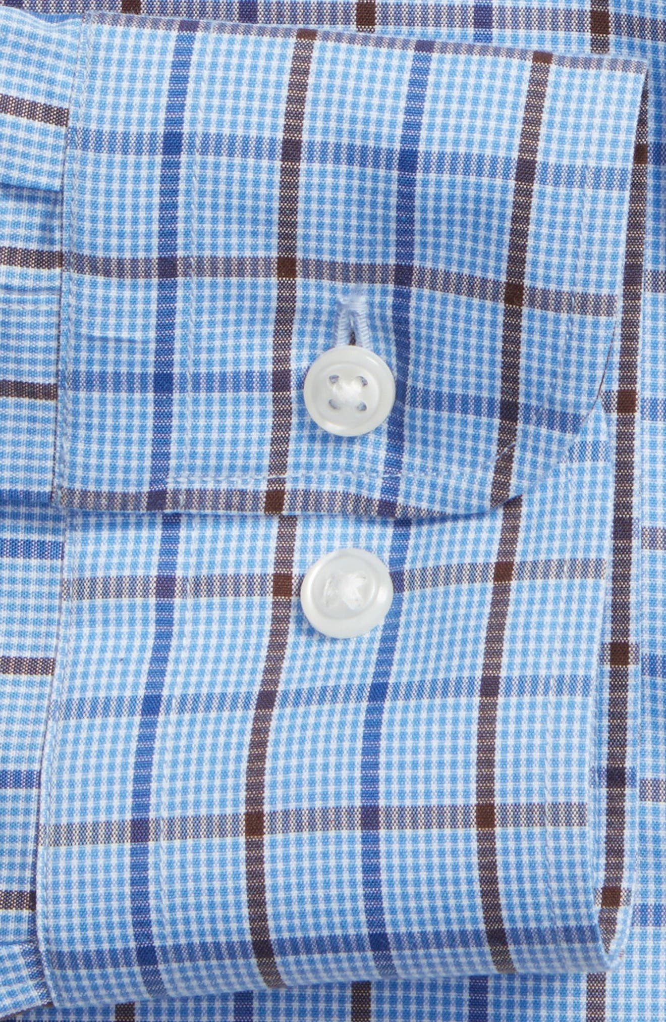 Smartcare<sup>™</sup> Trim Fit Check Dress Shirt,                             Alternate thumbnail 4, color,                             Brown Bag