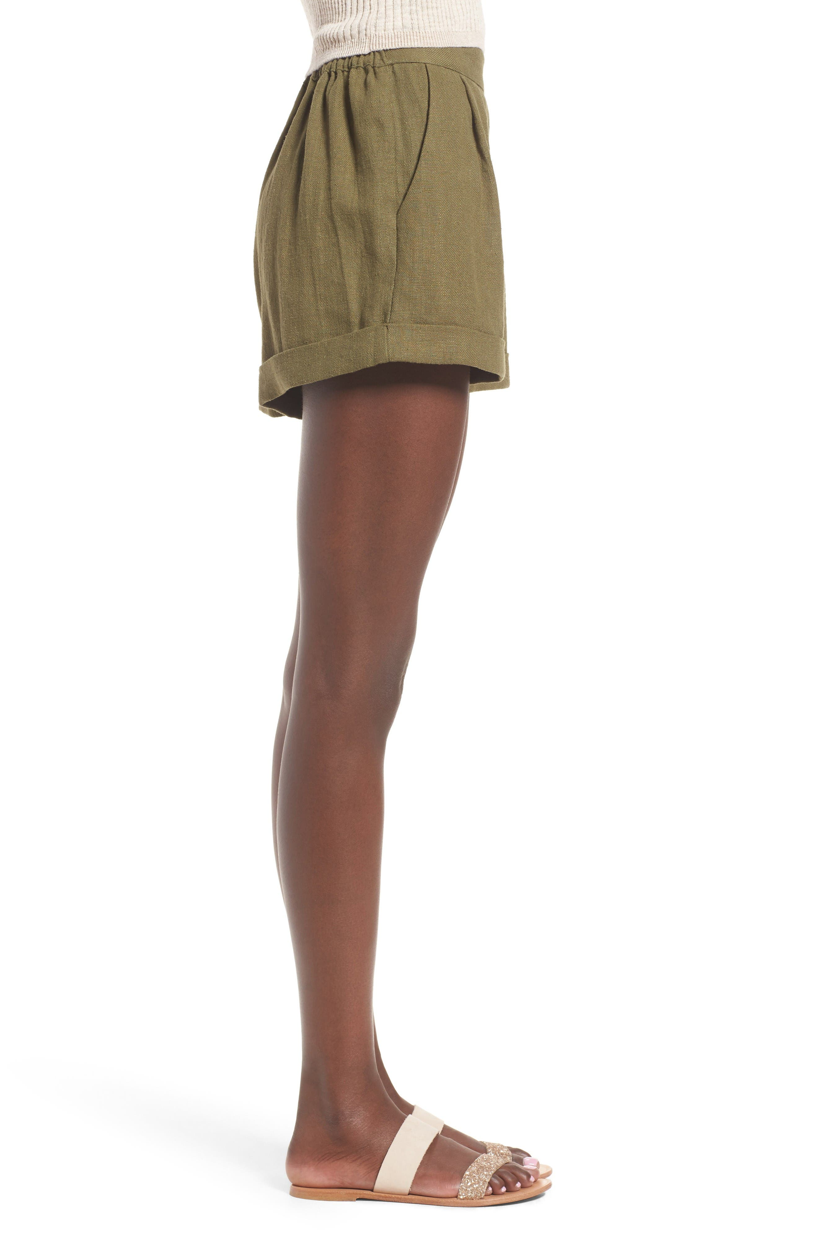 High Waist Linen & Cotton Shorts,                             Alternate thumbnail 4, color,                             Olive