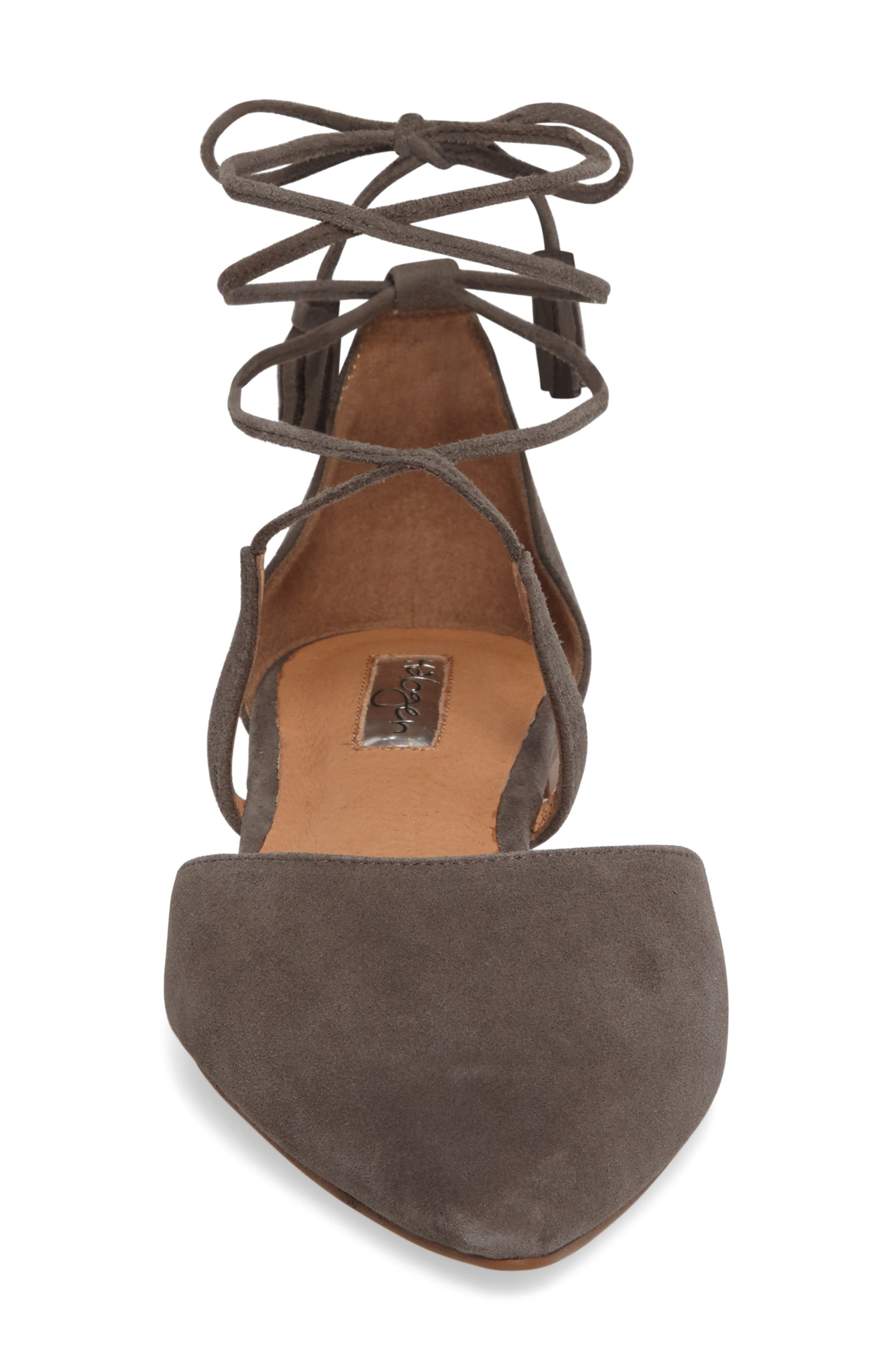 Oliver Ankle Wrap Flat,                             Alternate thumbnail 3, color,                             Grey Suede