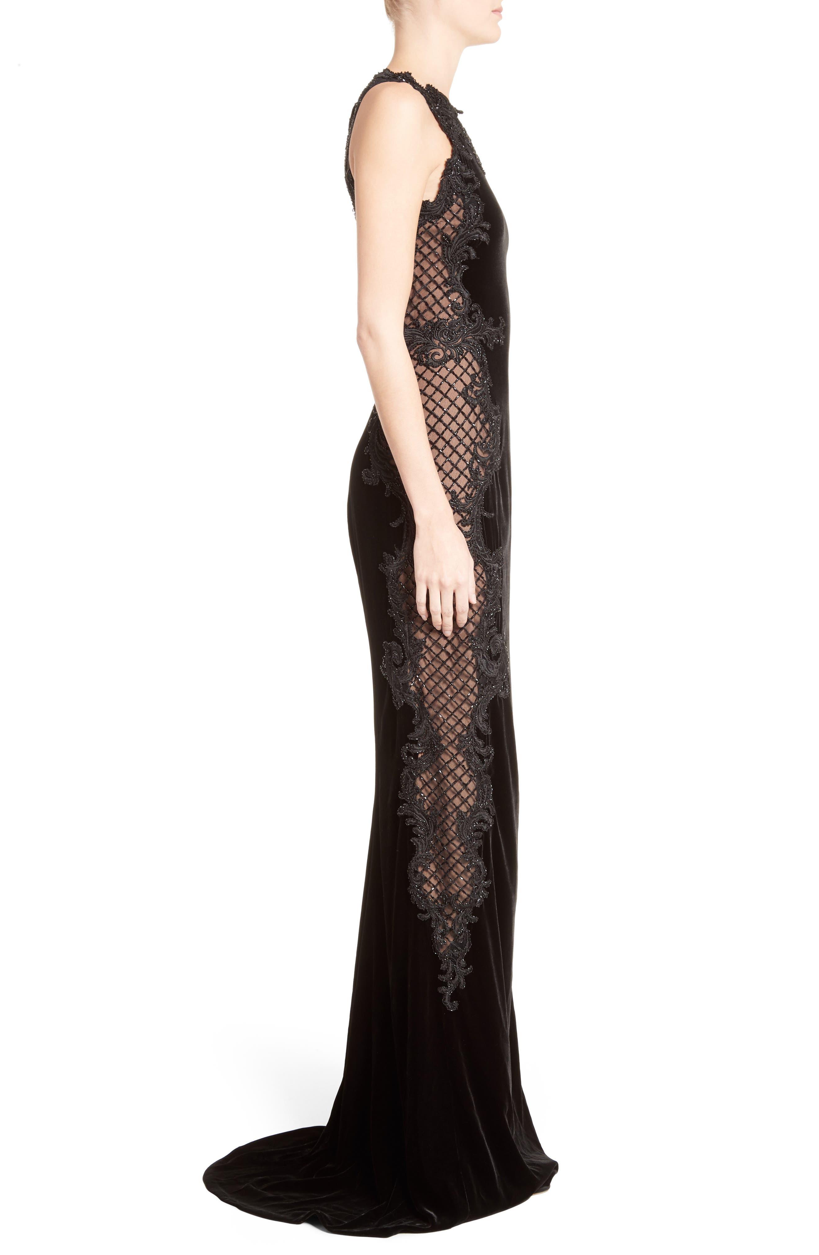 Embellished Tulle & Velvet Column Gown,                             Alternate thumbnail 4, color,                             Black