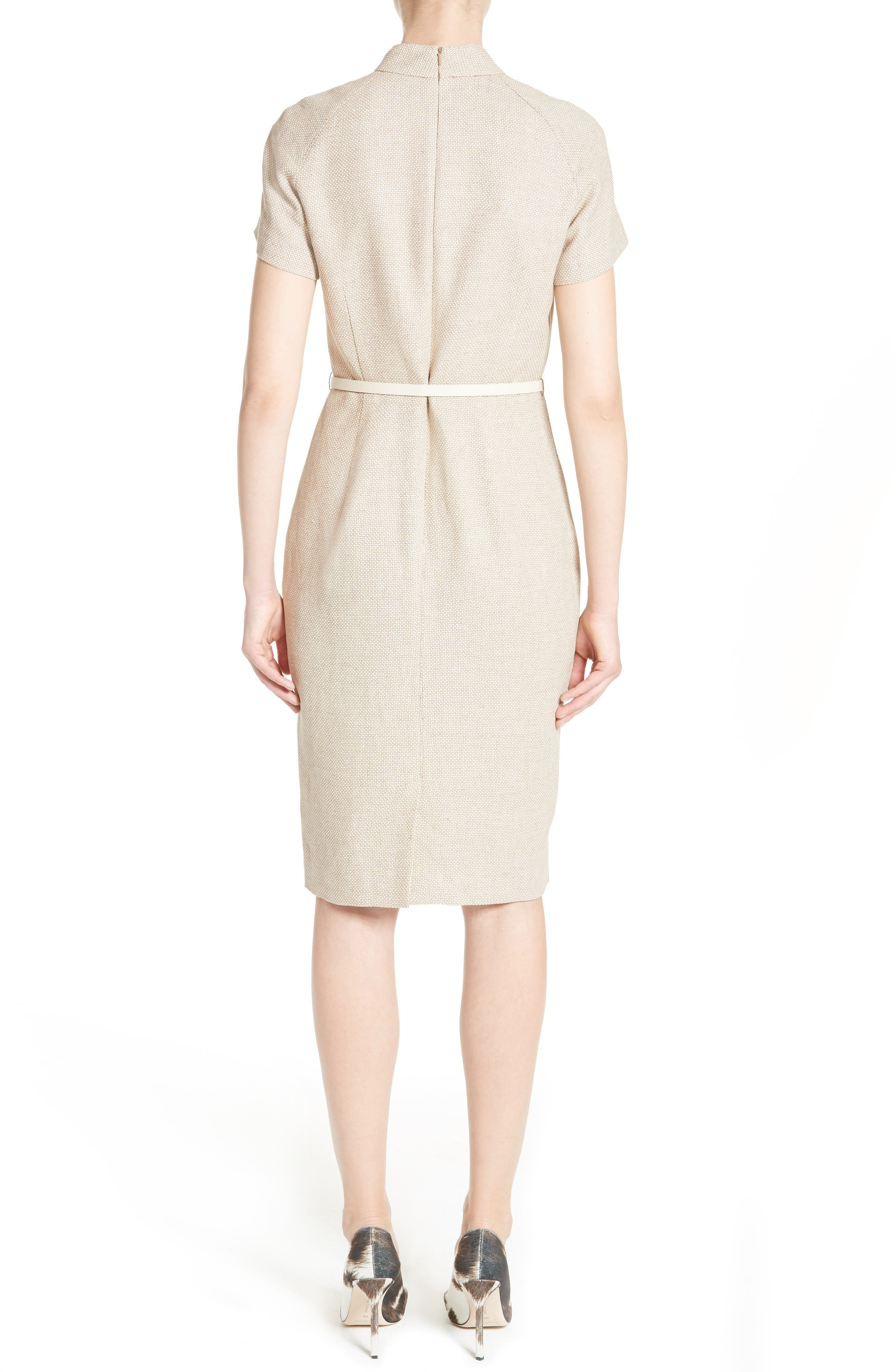 Alternate Image 2  - Max Mara Azeglio Belted Linen Sheath Dress