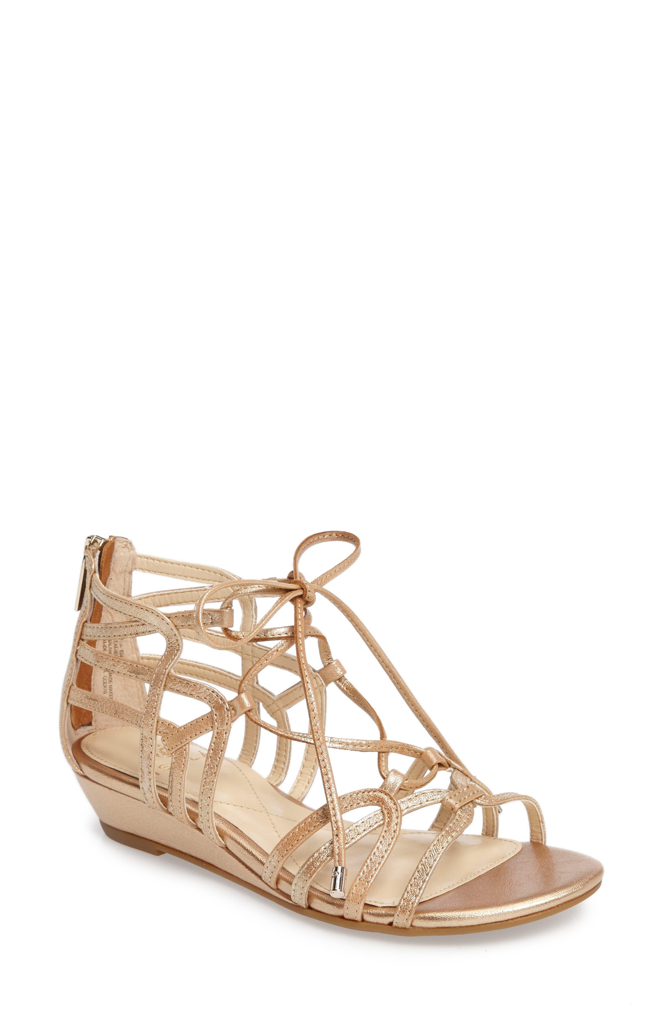 Elisia Lace-Up Sandal,                         Main,                         color, Gold Leather