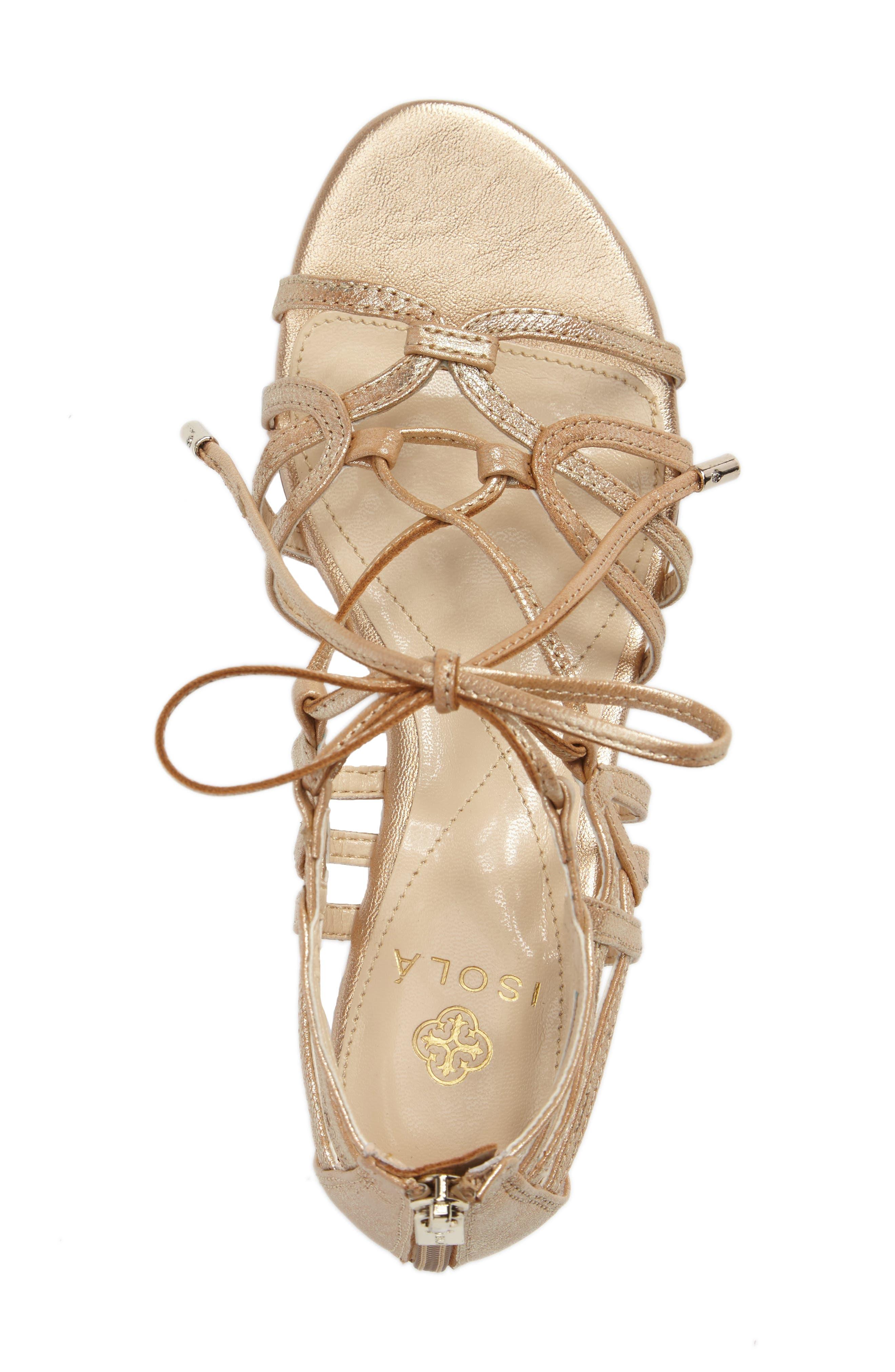 Elisia Lace-Up Sandal,                             Alternate thumbnail 3, color,                             Gold Leather